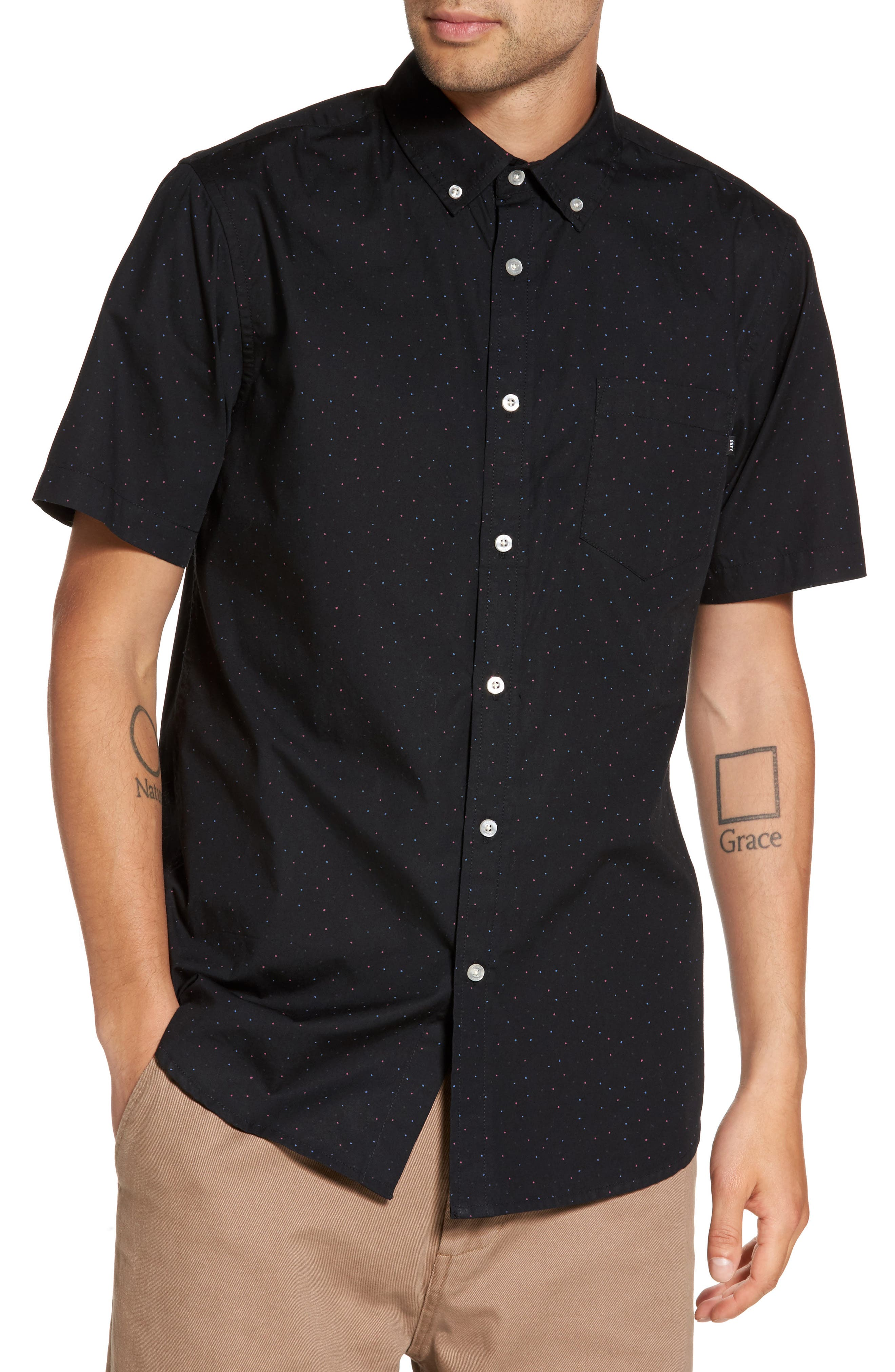 Alternate Image 1 Selected - Obey Voyage Flecked Woven Shirt