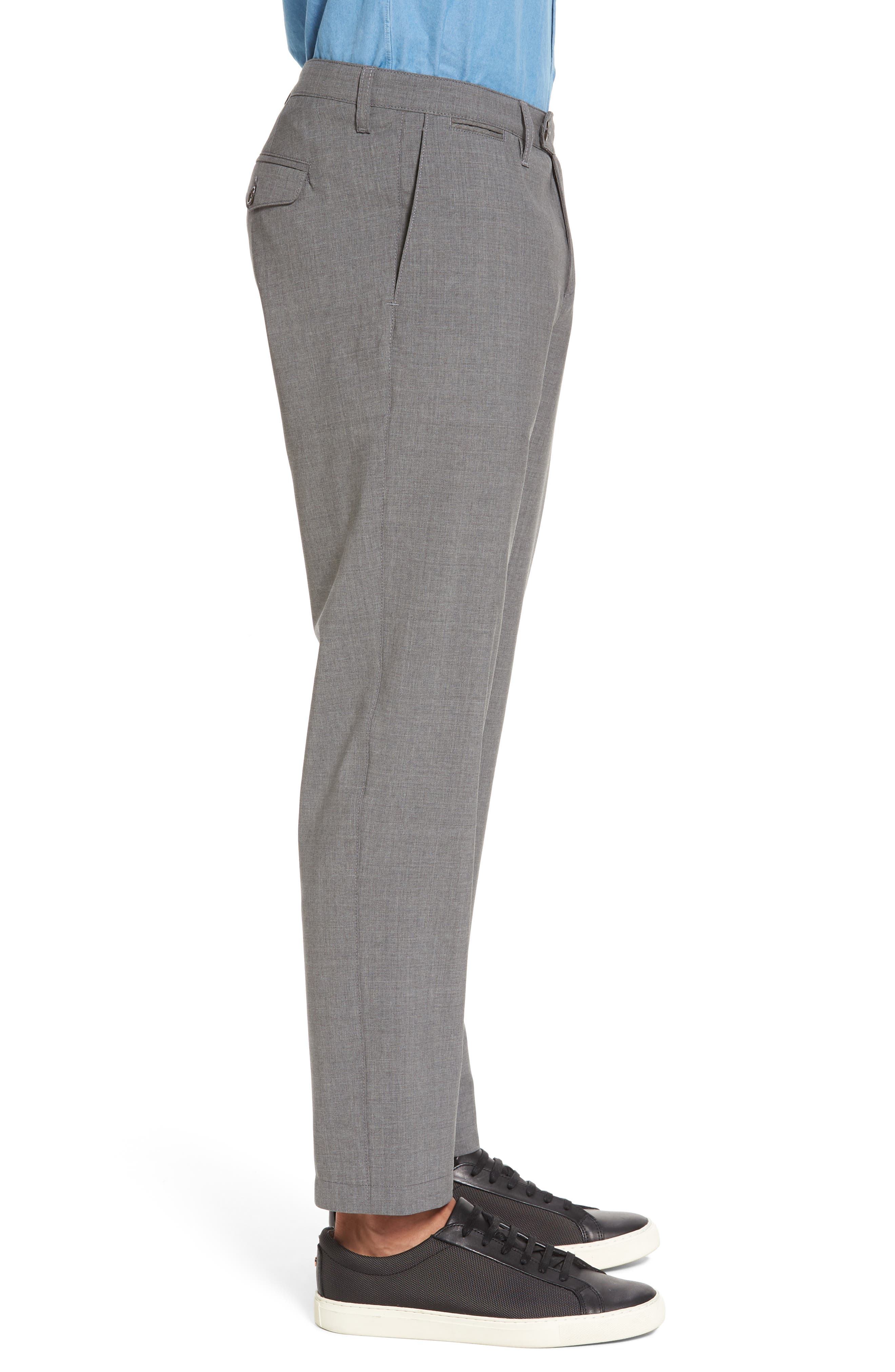 Flat Front Wool Trousers,                             Alternate thumbnail 3, color,                             Medium Grey