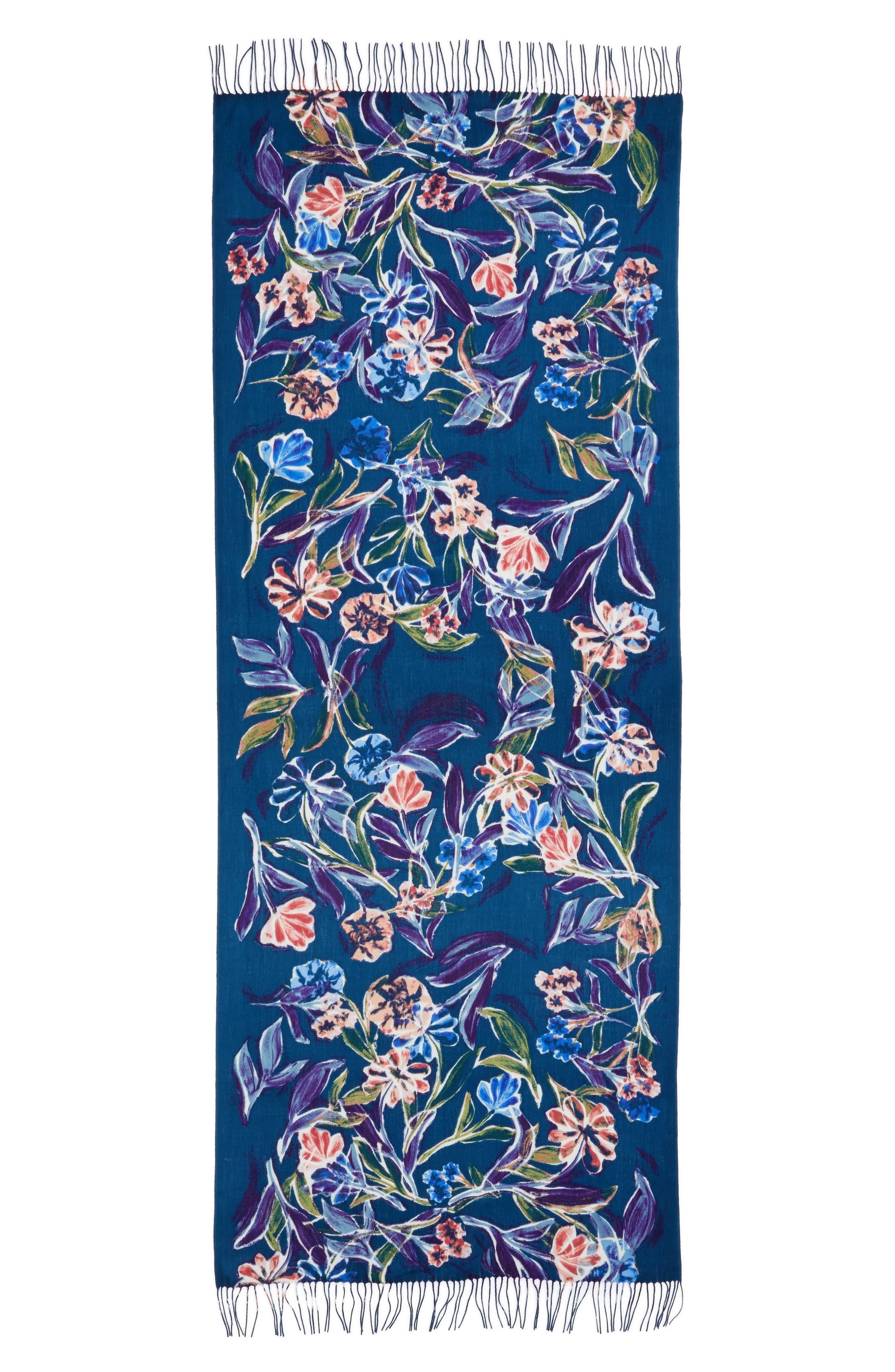 Alternate Image 2  - Nordstrom Pressed Flowers Tissue Weight Wool & Cashmere Scarf
