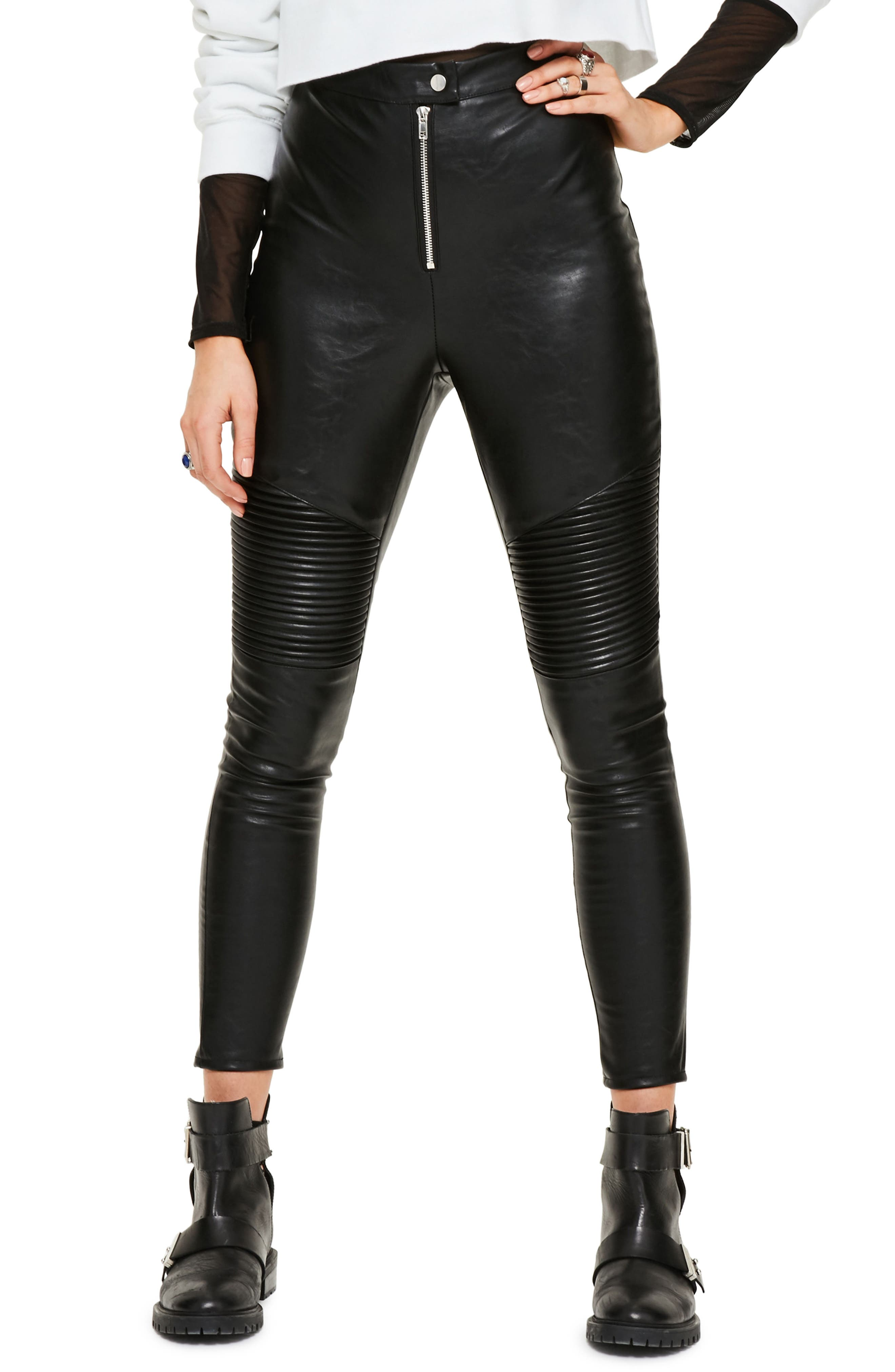 Faux Leather Crop Biker Pants,                         Main,                         color, Black