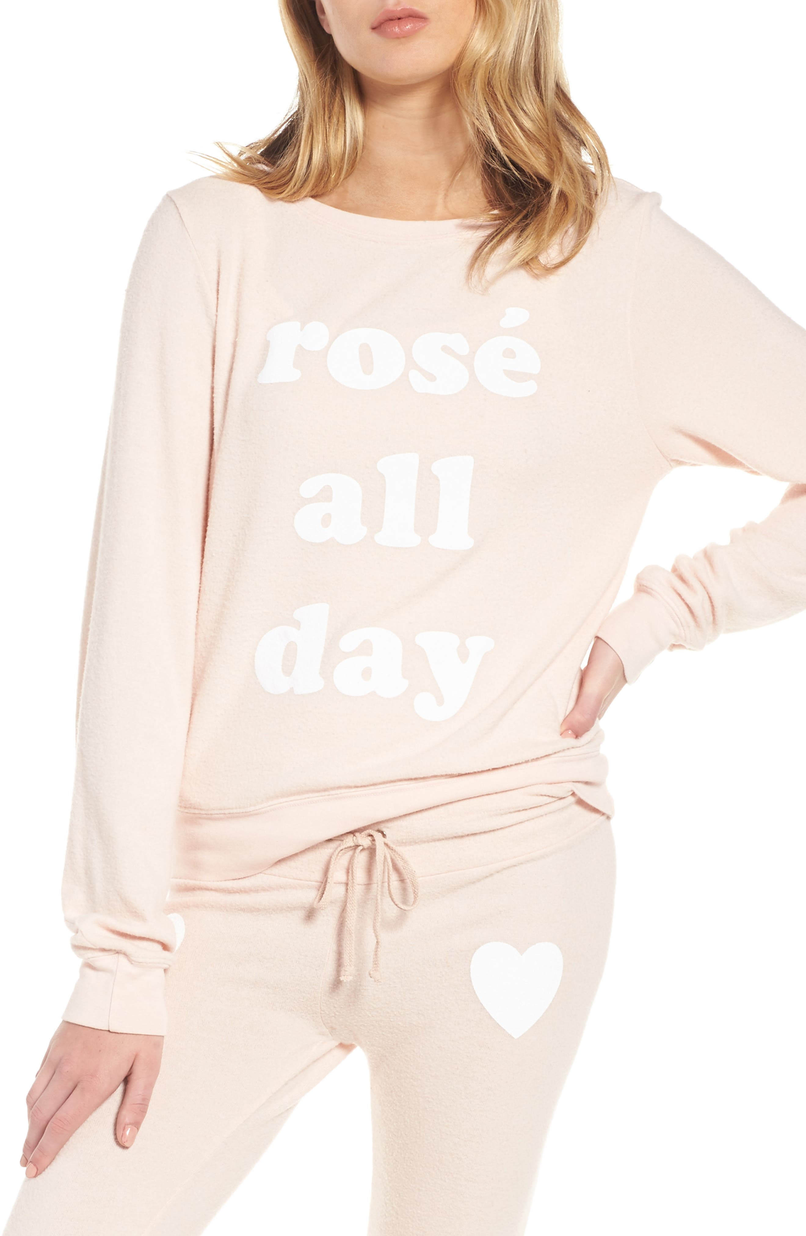 Rosé All Day Sweatshirt,                             Main thumbnail 1, color,                             Rose
