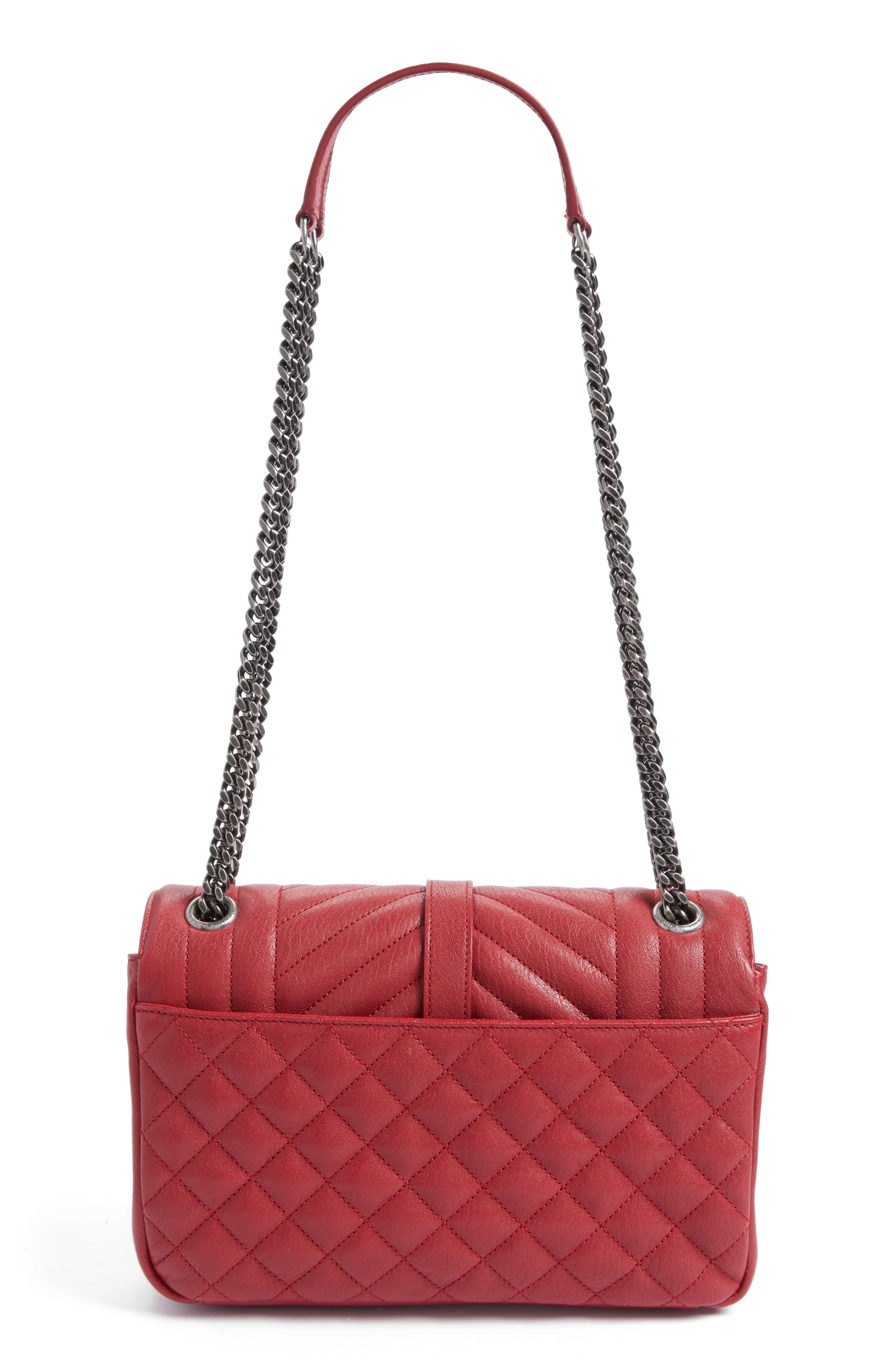 Large Monogramme Matelassé Leather Shoulder Bag,                             Alternate thumbnail 3, color,                             Rouge Lipstick