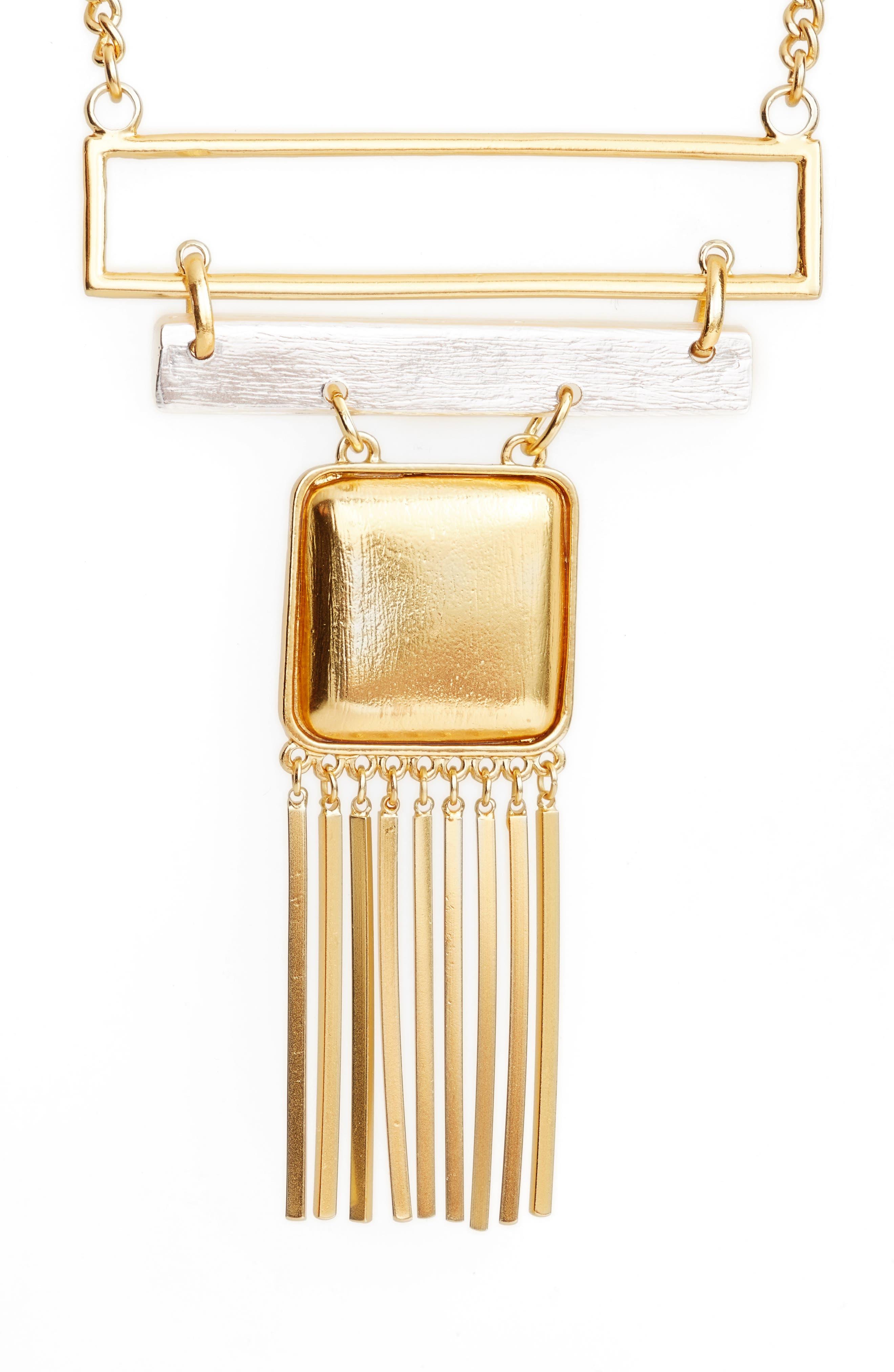 Long Bib Necklace,                         Main,                         color, Gold/Silver Mix