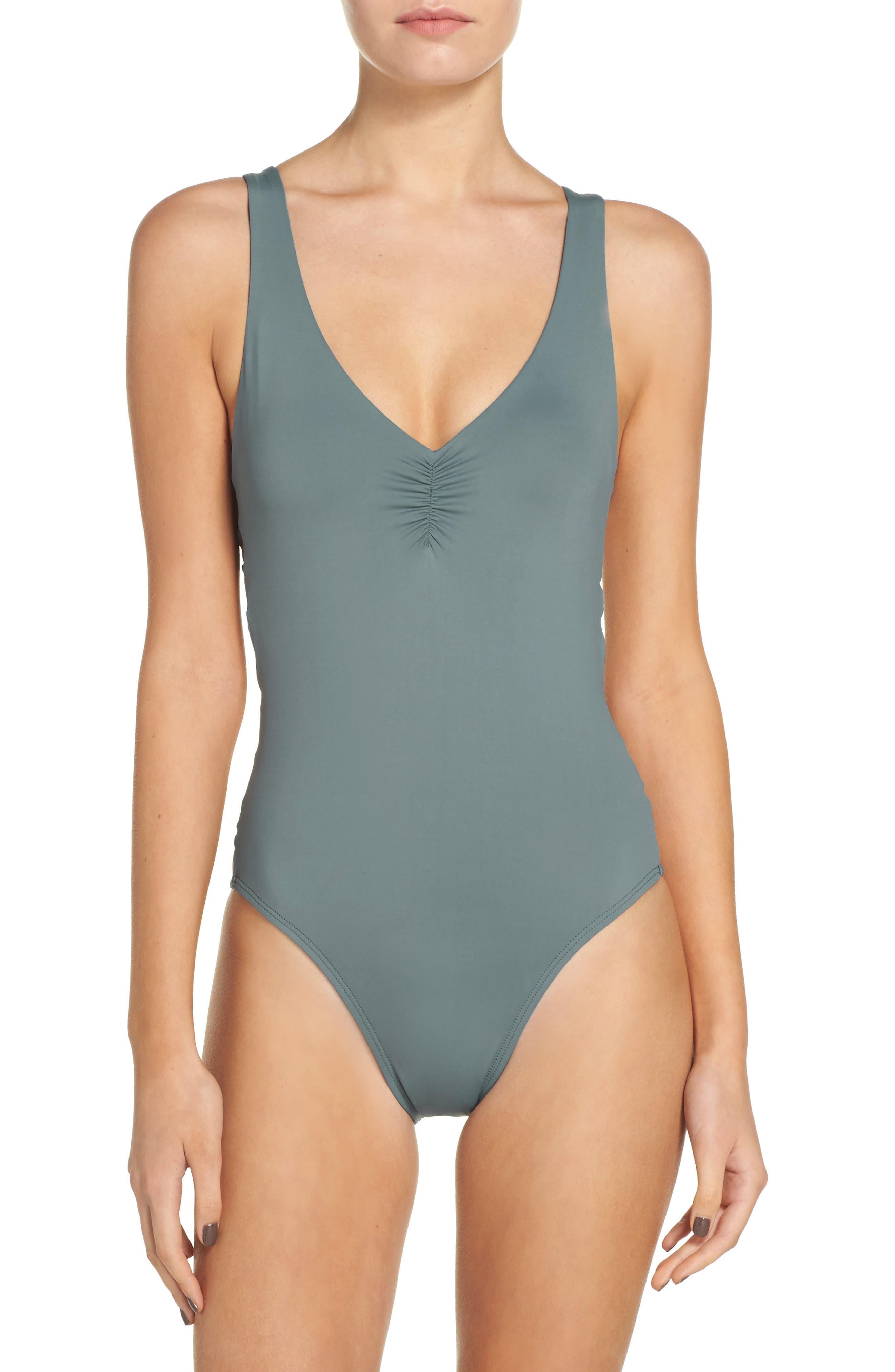 Ricki One-Piece Swimsuit,                         Main,                         color, Slated Glass