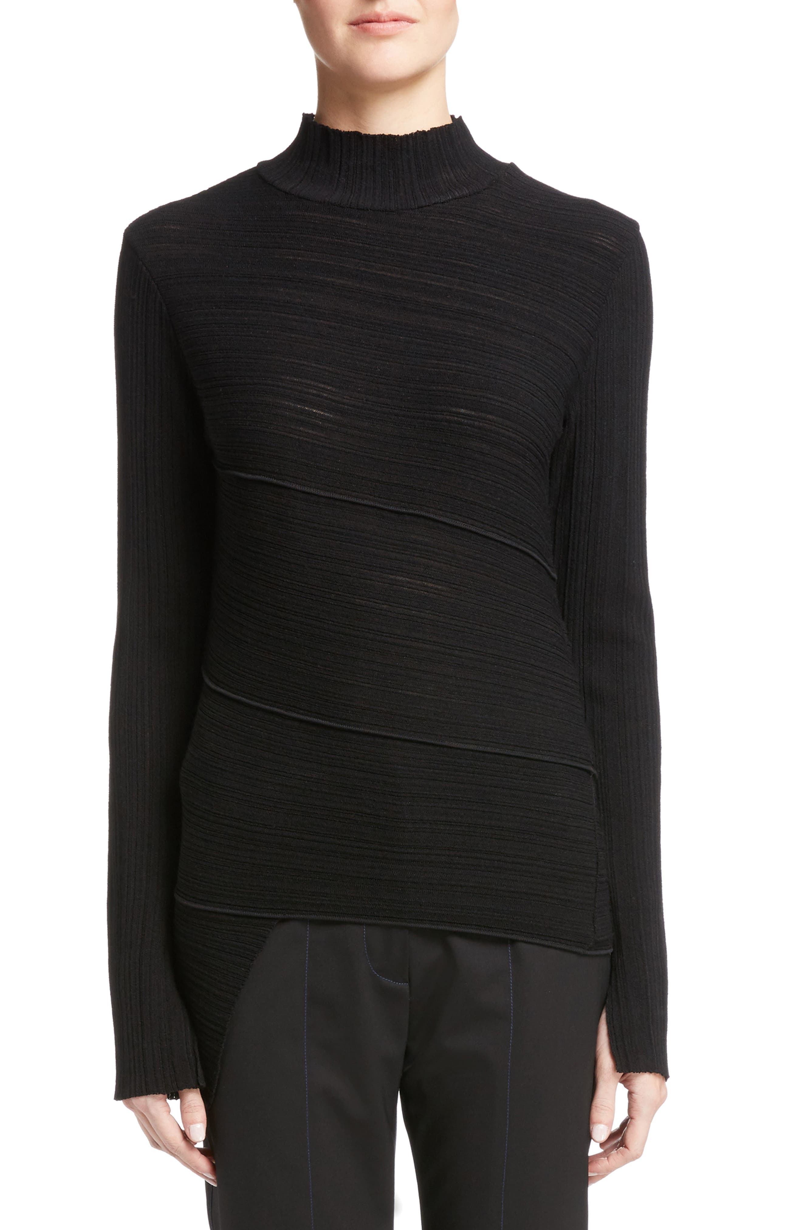 Spiral Knit Top,                         Main,                         color, Black