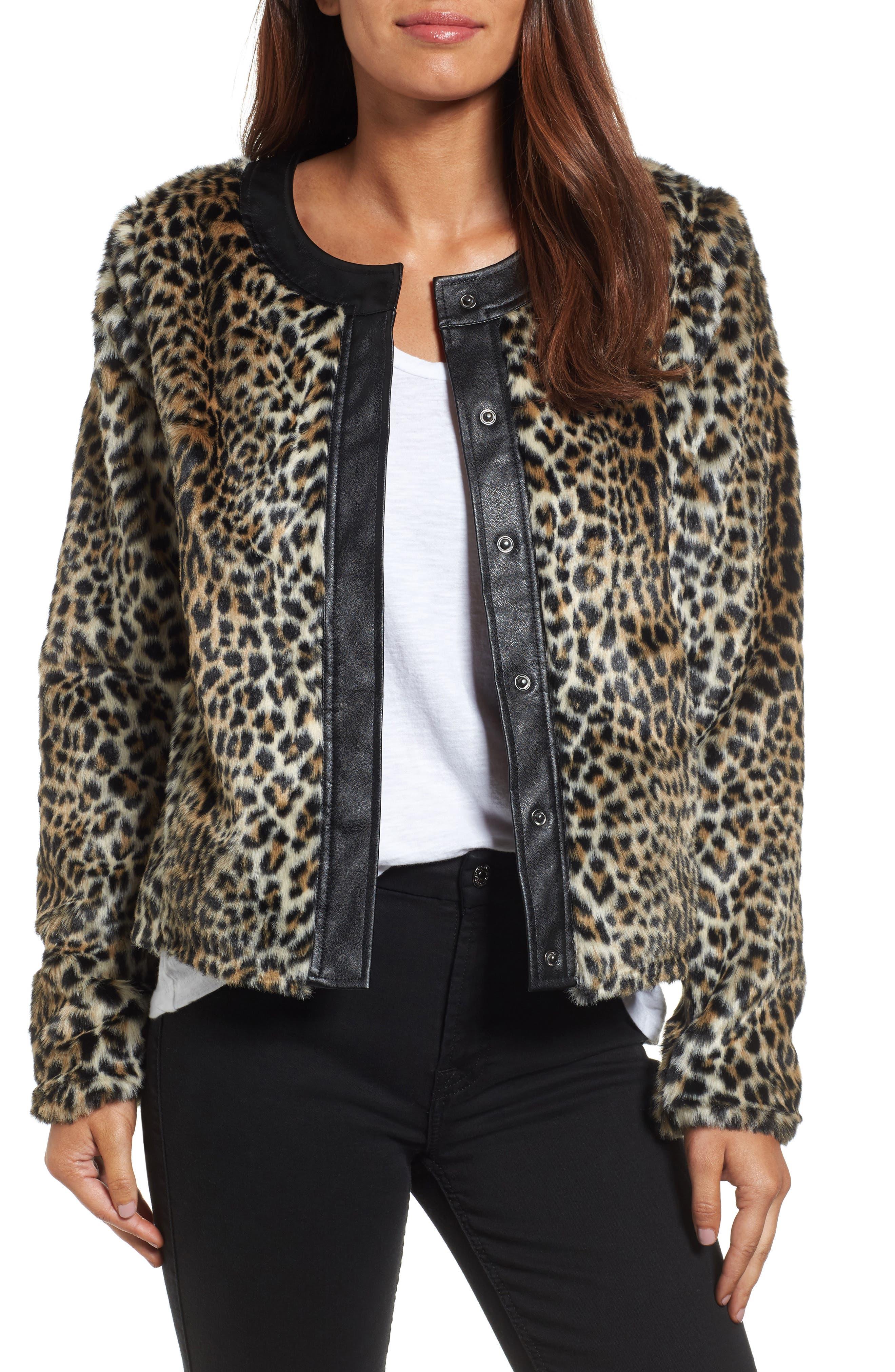 Courtney Faux Leopard Fur Jacket,                         Main,                         color, Tan/ Black