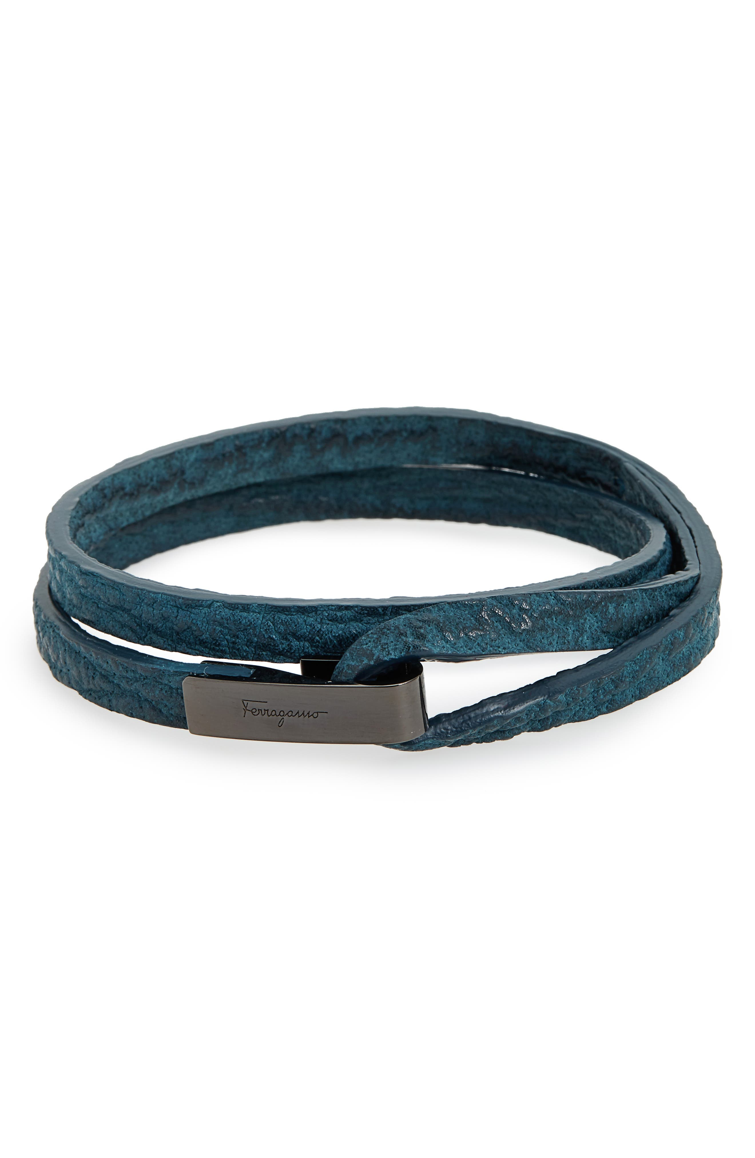 Salvatore Ferragamo Double Wrap Leather Bracelet