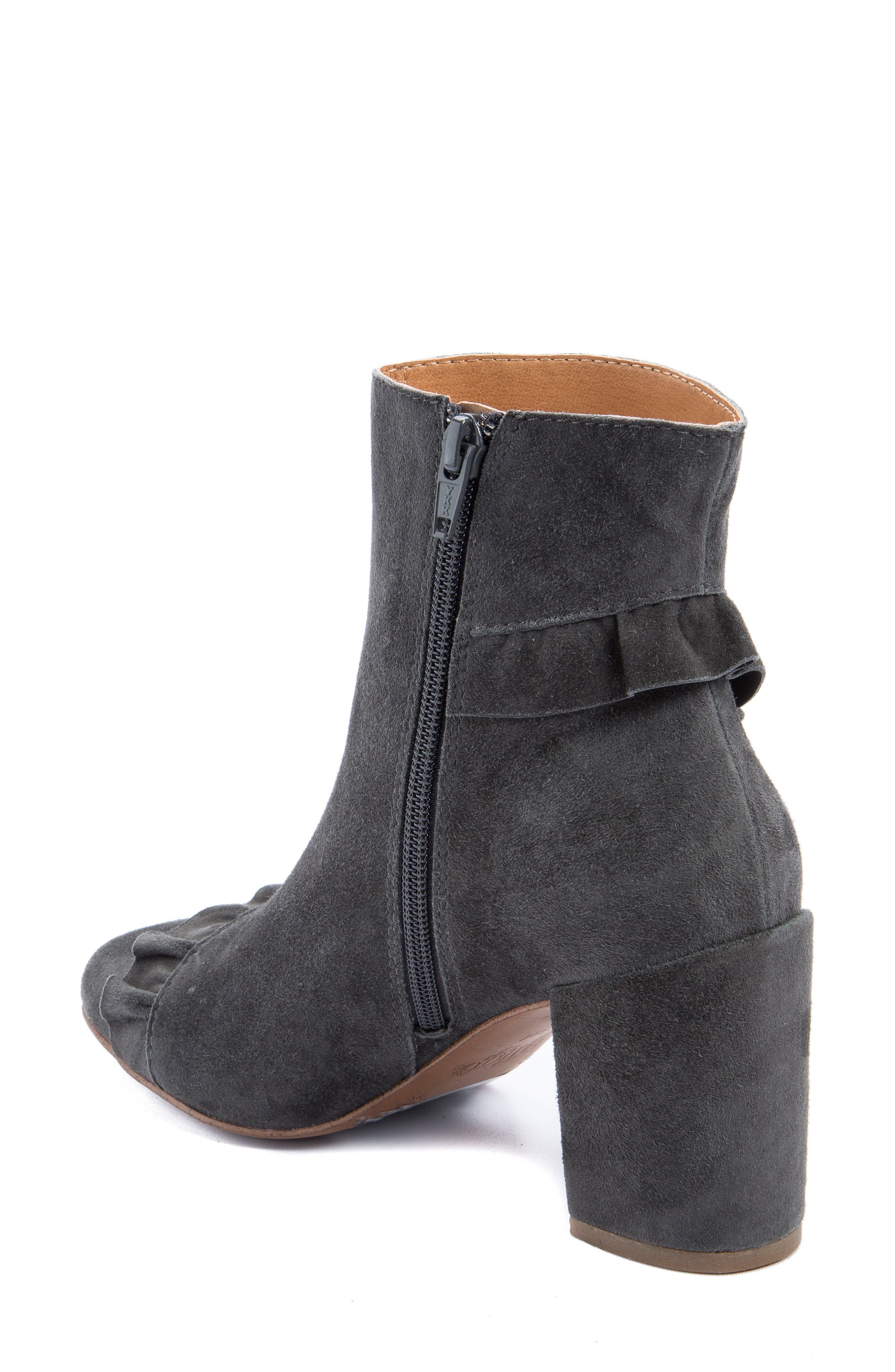 Kahlia Ruffle Bootie,                             Alternate thumbnail 2, color,                             Stone Suede
