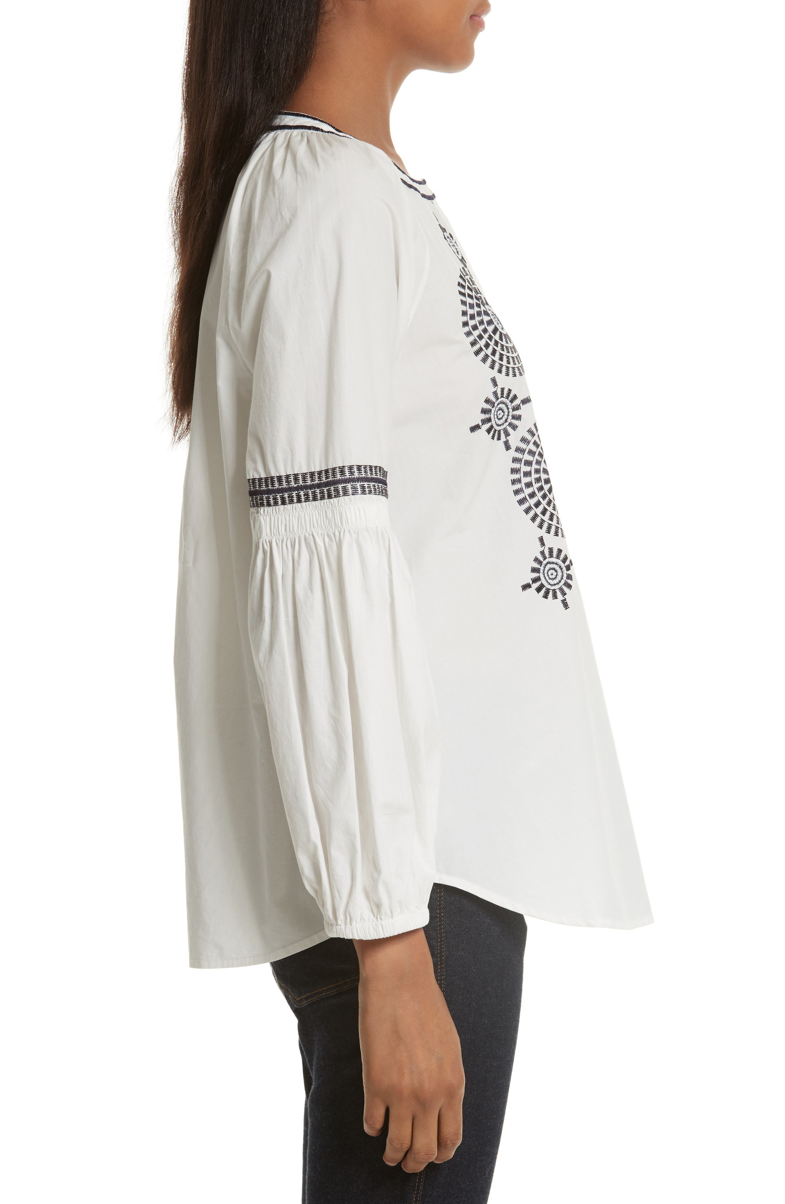 Alternate Image 3  - Tory Burch Aubrey Embroidered Peasant Top