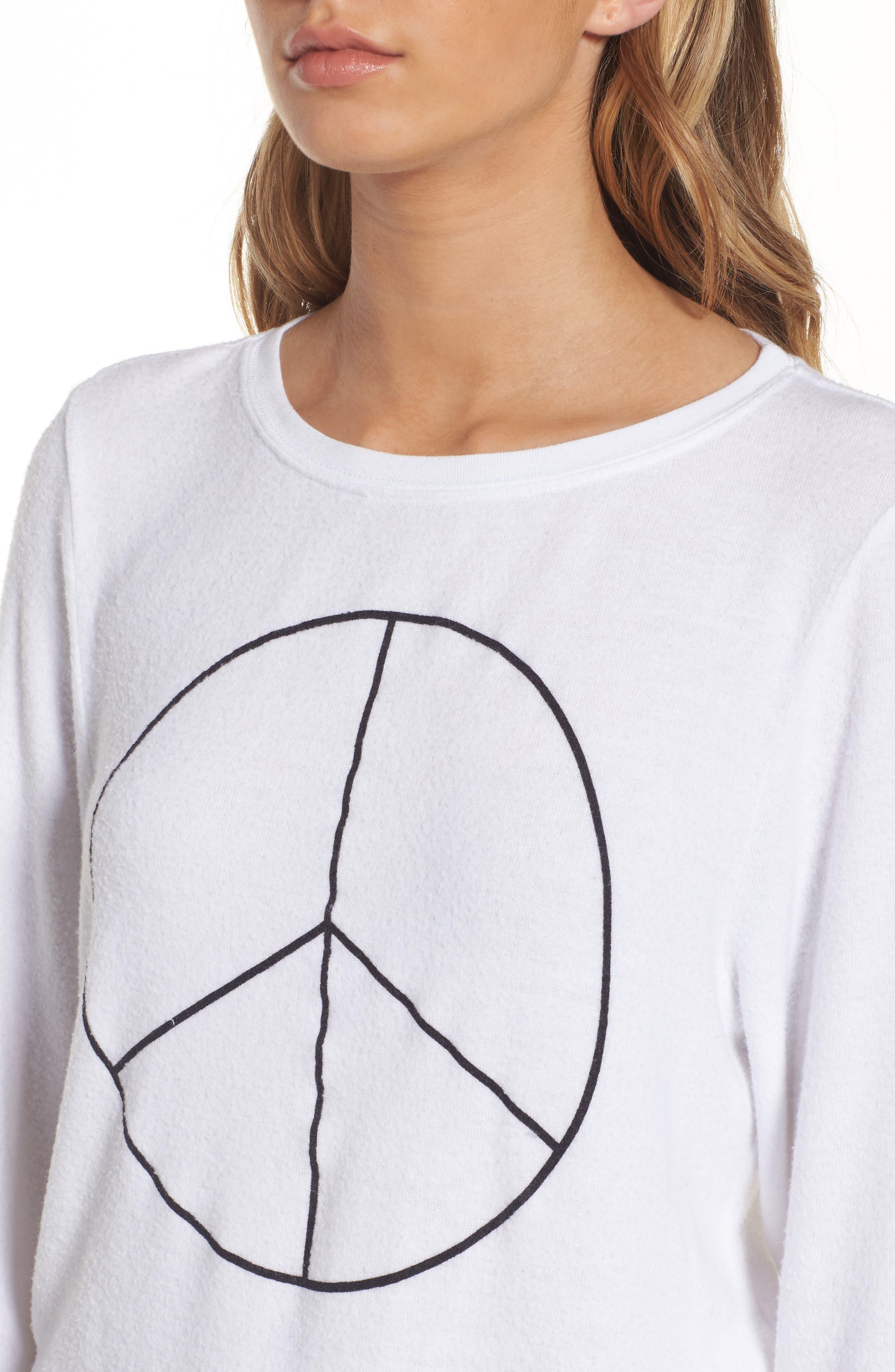 Peace Sweatshirt,                             Alternate thumbnail 4, color,                             White