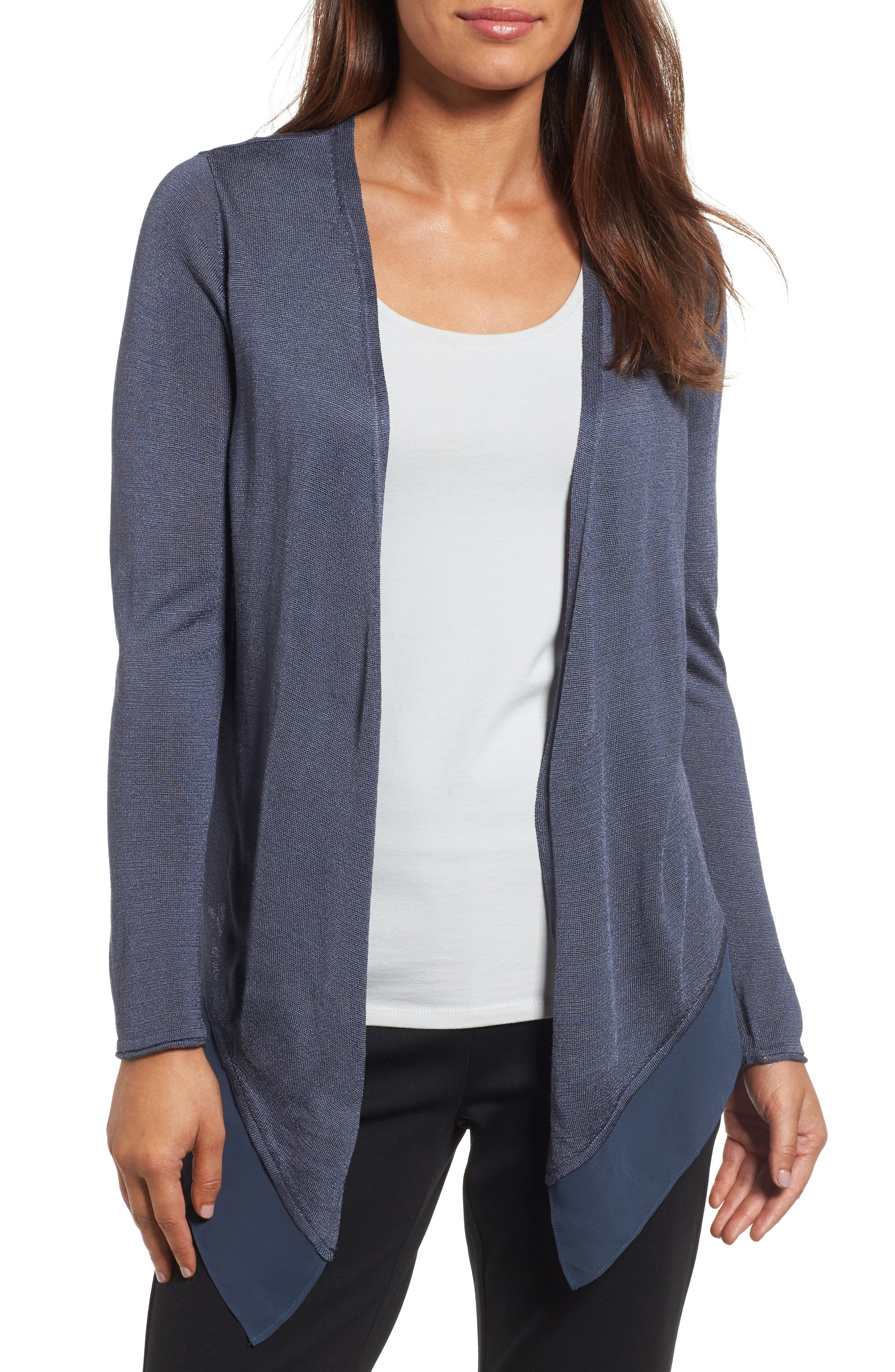 Paired Up Silk Blend Cardigan,                         Main,                         color, Slate
