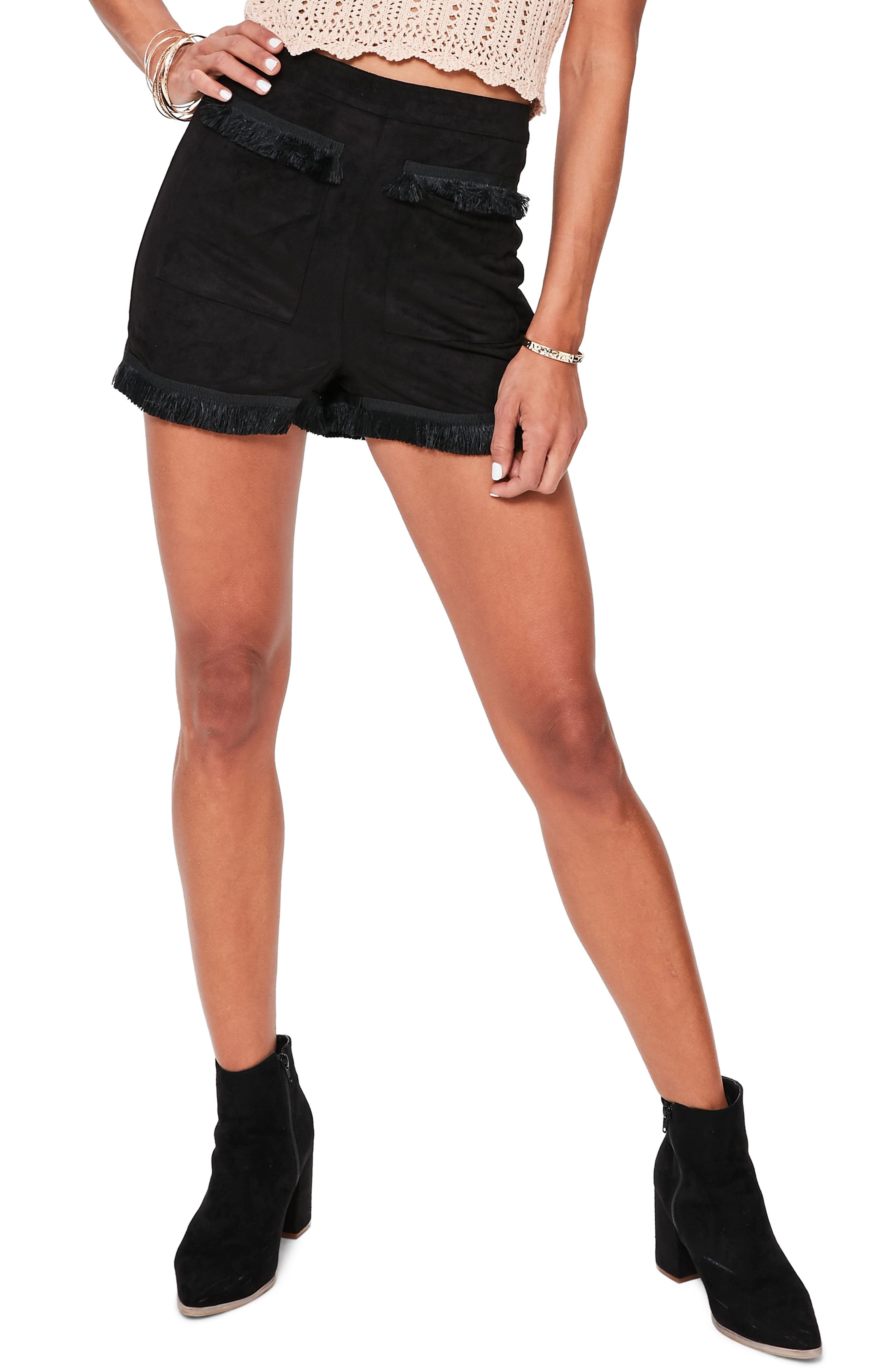 Main Image - Missguided Fringe Detail Faux Suede Shorts