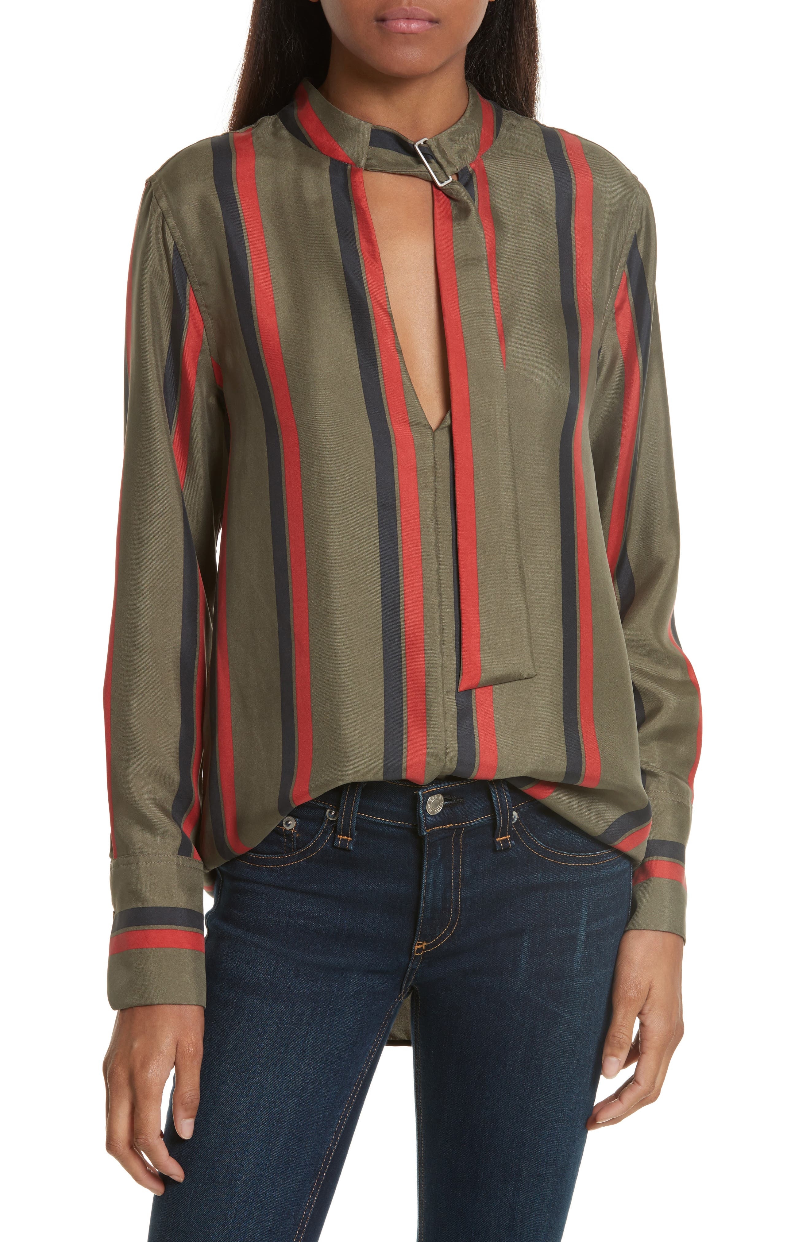 Equipment Janelle Belt Neck Silk Blouse