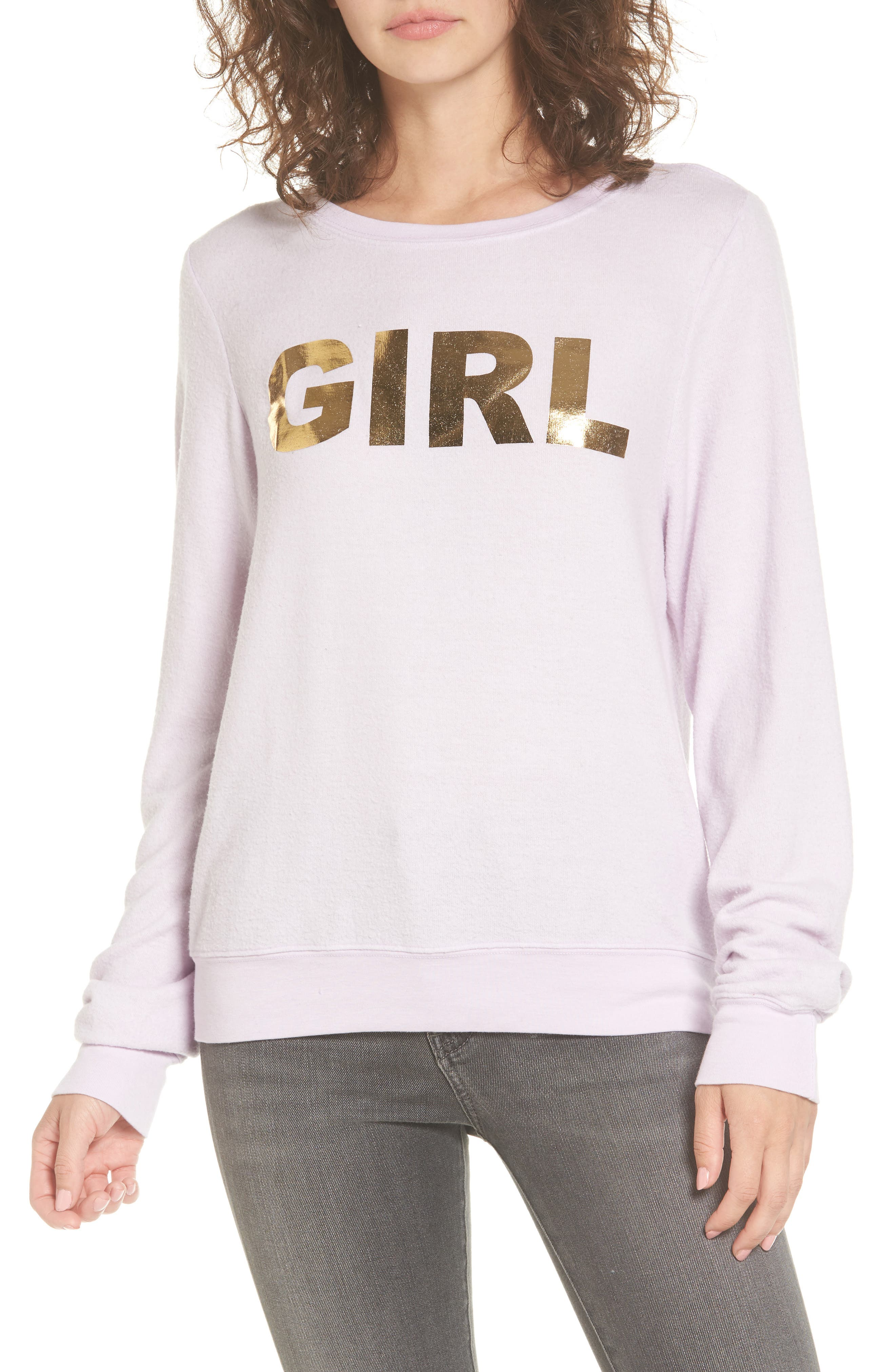 Girl Sweatshirt,                             Main thumbnail 1, color,                             Purple