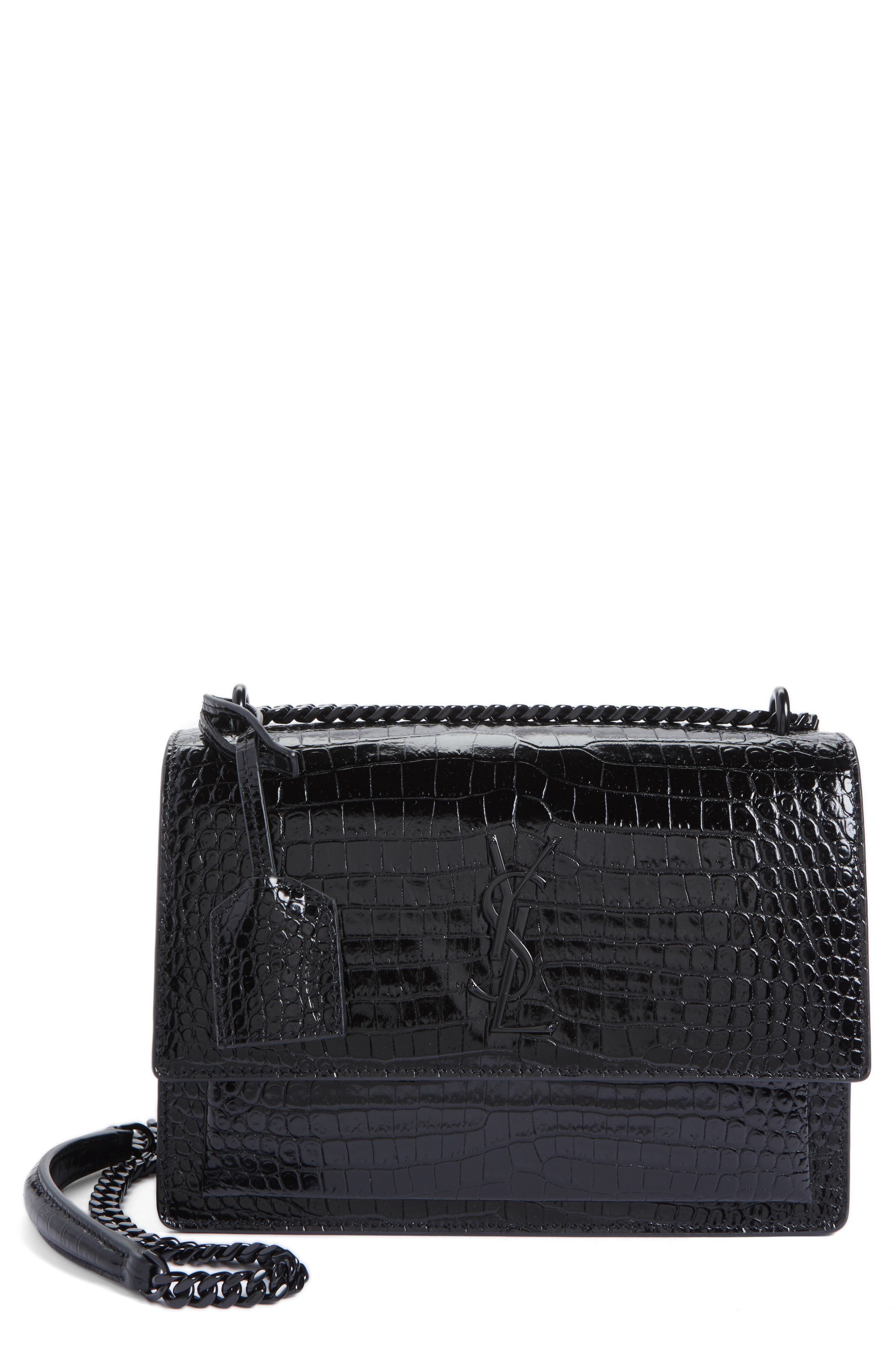 SAINT LAURENT Medium Sunset Croc Embossed Leather Shoulder Bag