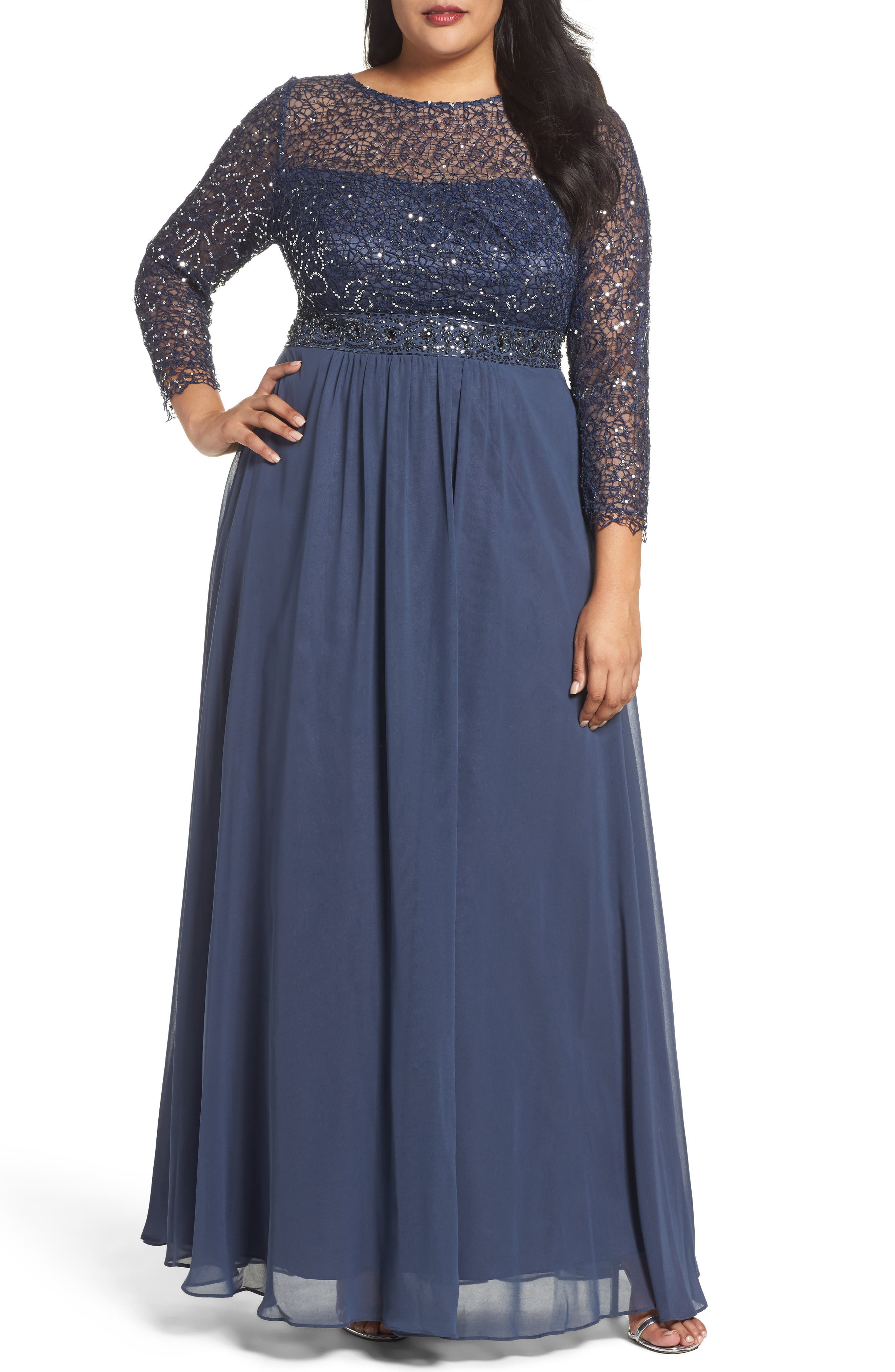 Embellished A-Line Chiffon Gown,                             Main thumbnail 1, color,                             Steel