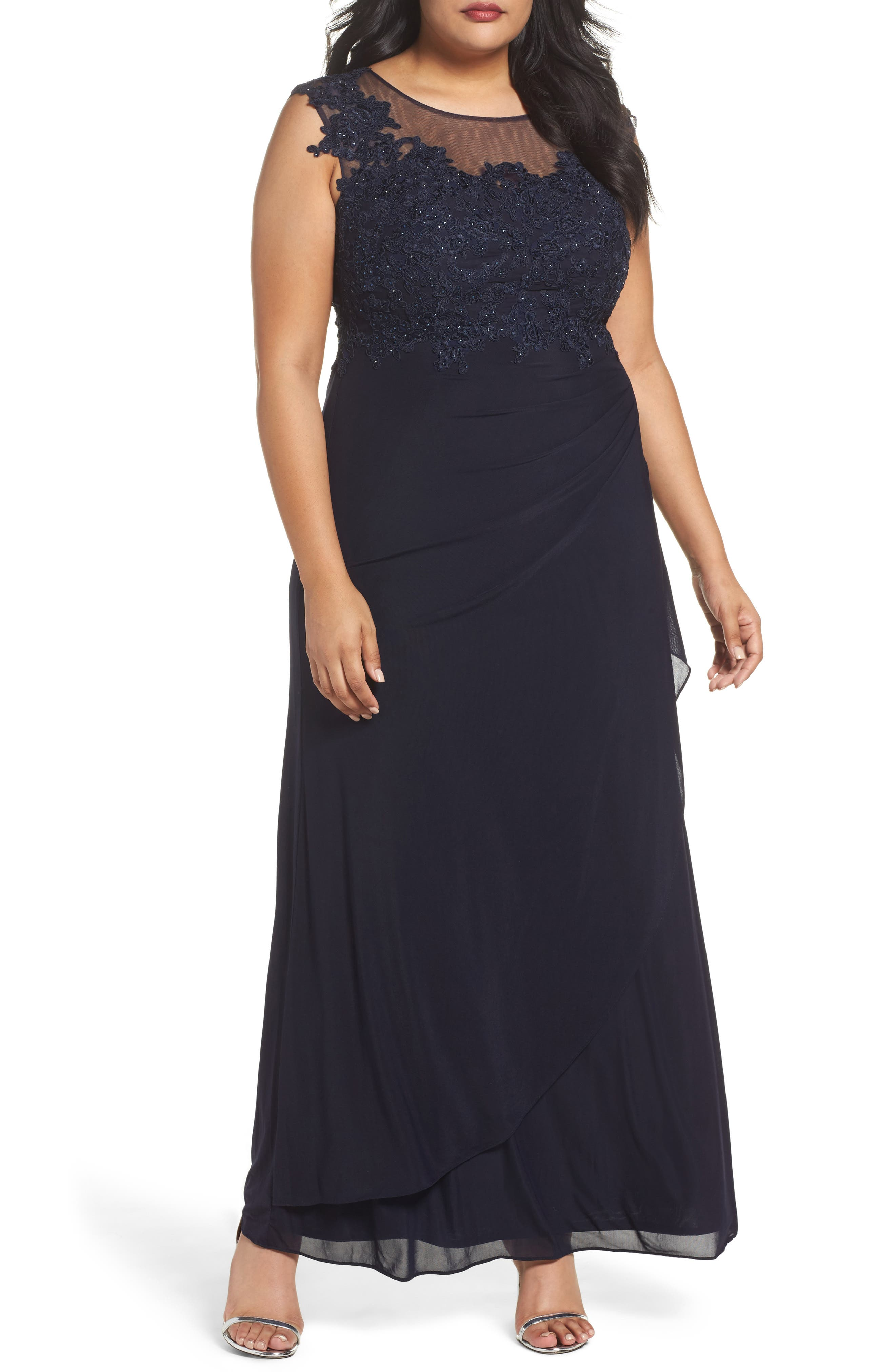 Main Image - DECODE 1.8 Sequin Embroidered A-Line Gown (Plus Size)