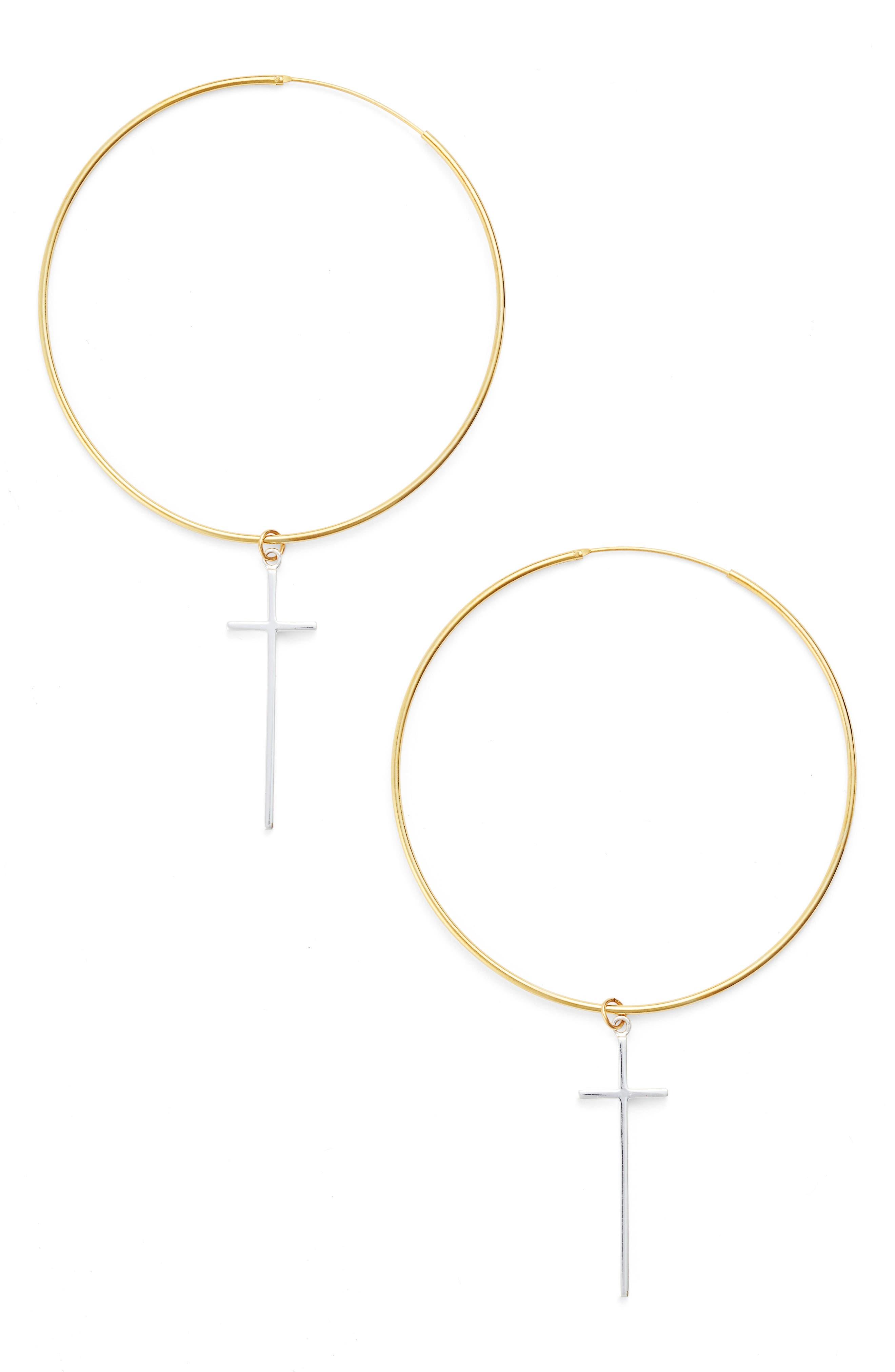 Cross Station Hoop Earrings,                             Main thumbnail 1, color,                             Gold / Silver