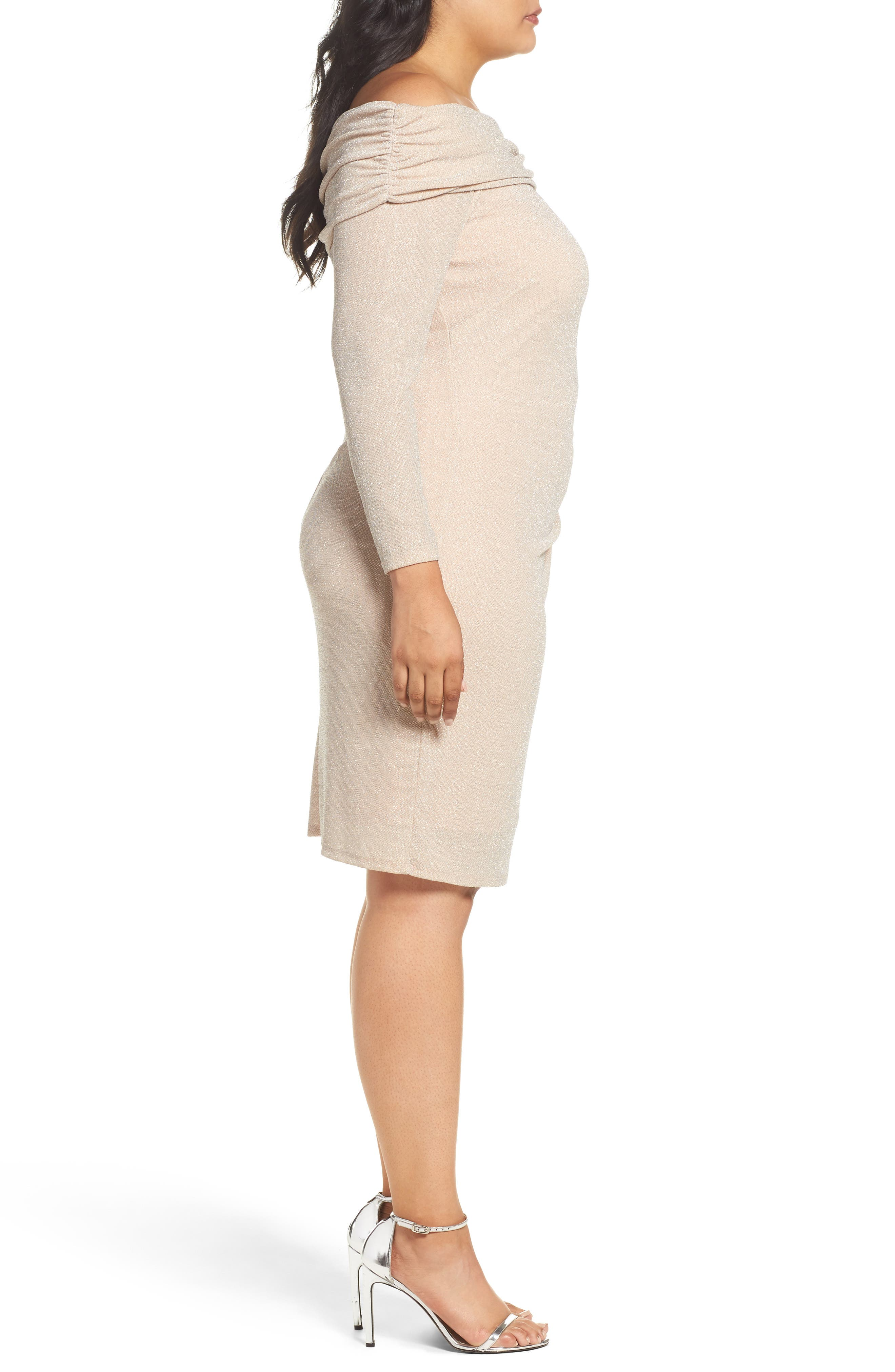Alternate Image 4  - Eliza J Off the Shoulder Metallic Knit Sheath Dress (Plus Size)