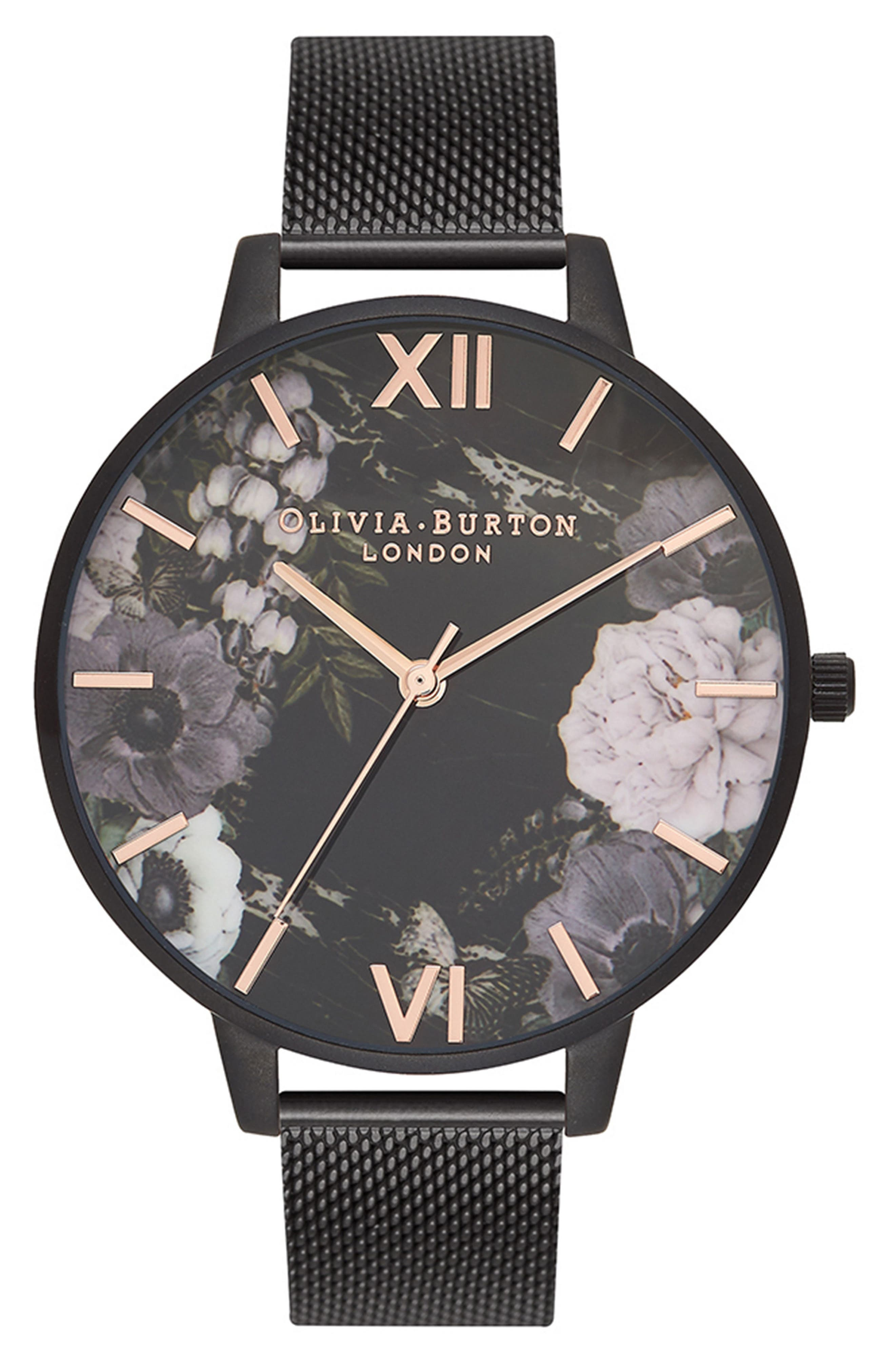 After Dark Mesh Strap Watch, 38mm,                             Main thumbnail 1, color,                             Black/ Floral/ Rose Gold
