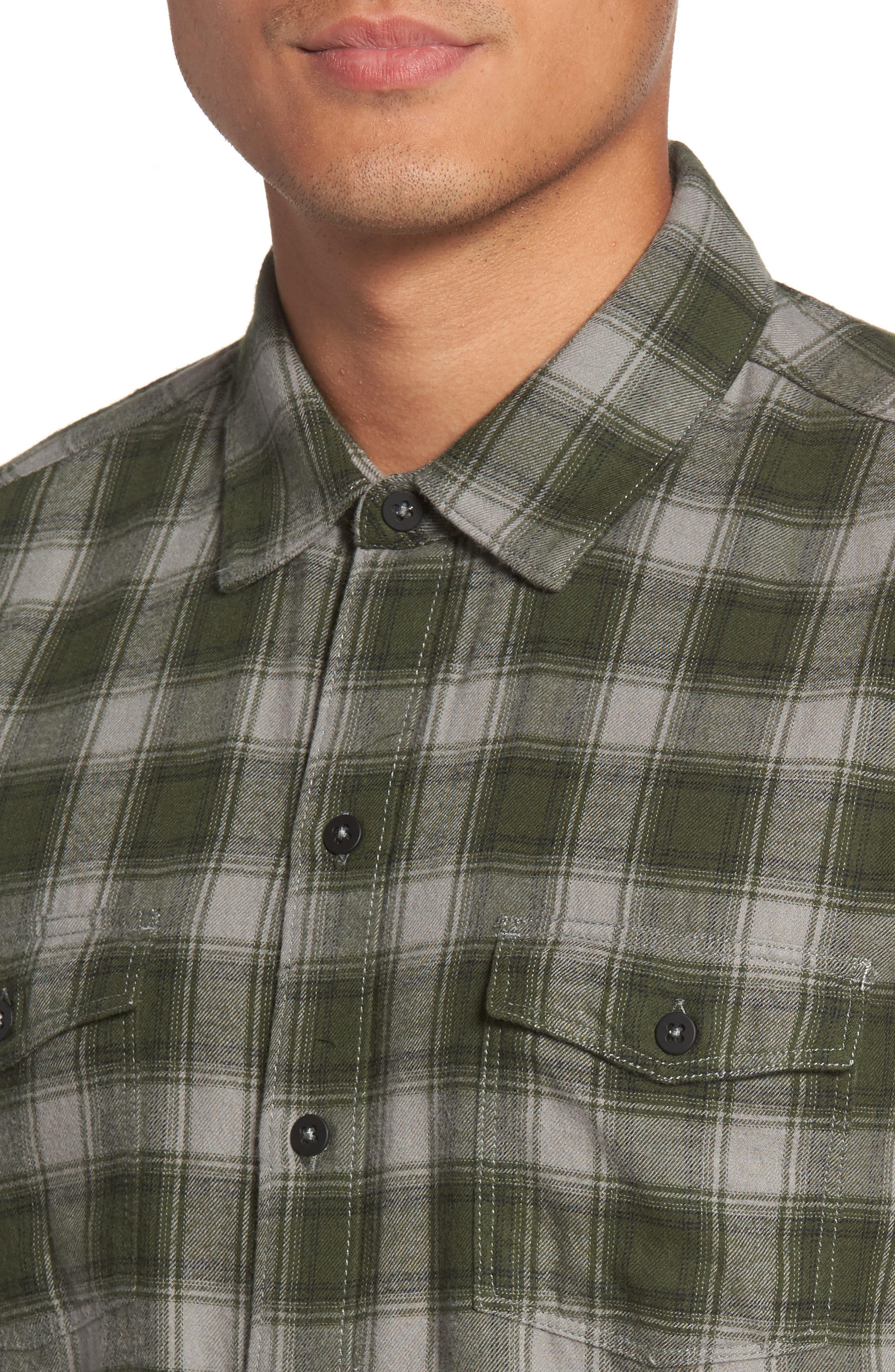 Everett Plaid Sport Shirt,                             Alternate thumbnail 4, color,                             Green Dusk