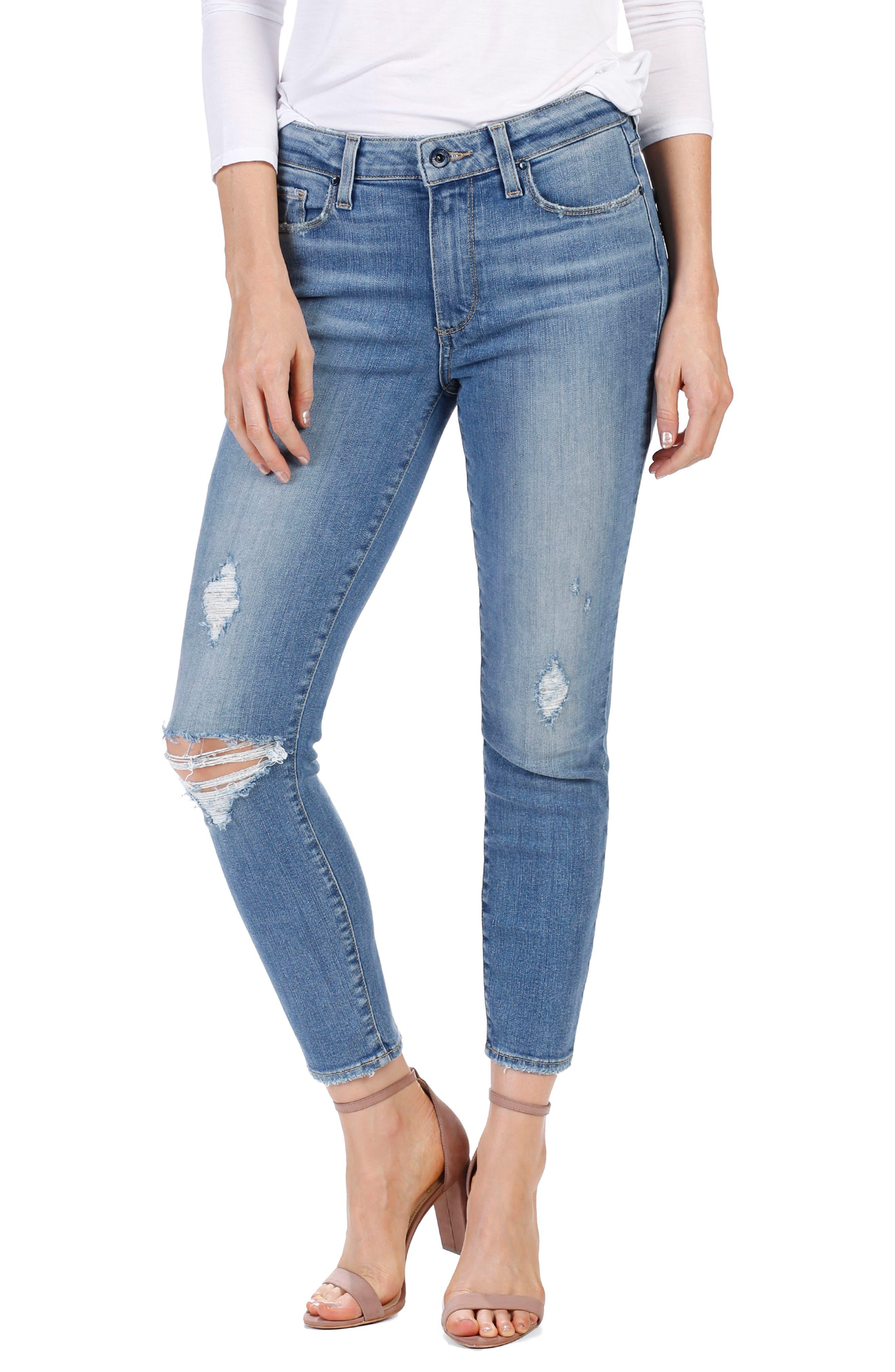 PAIGE Transcend Vintage - Hoxton High Waist Crop Jeans (Sienna Destructed)