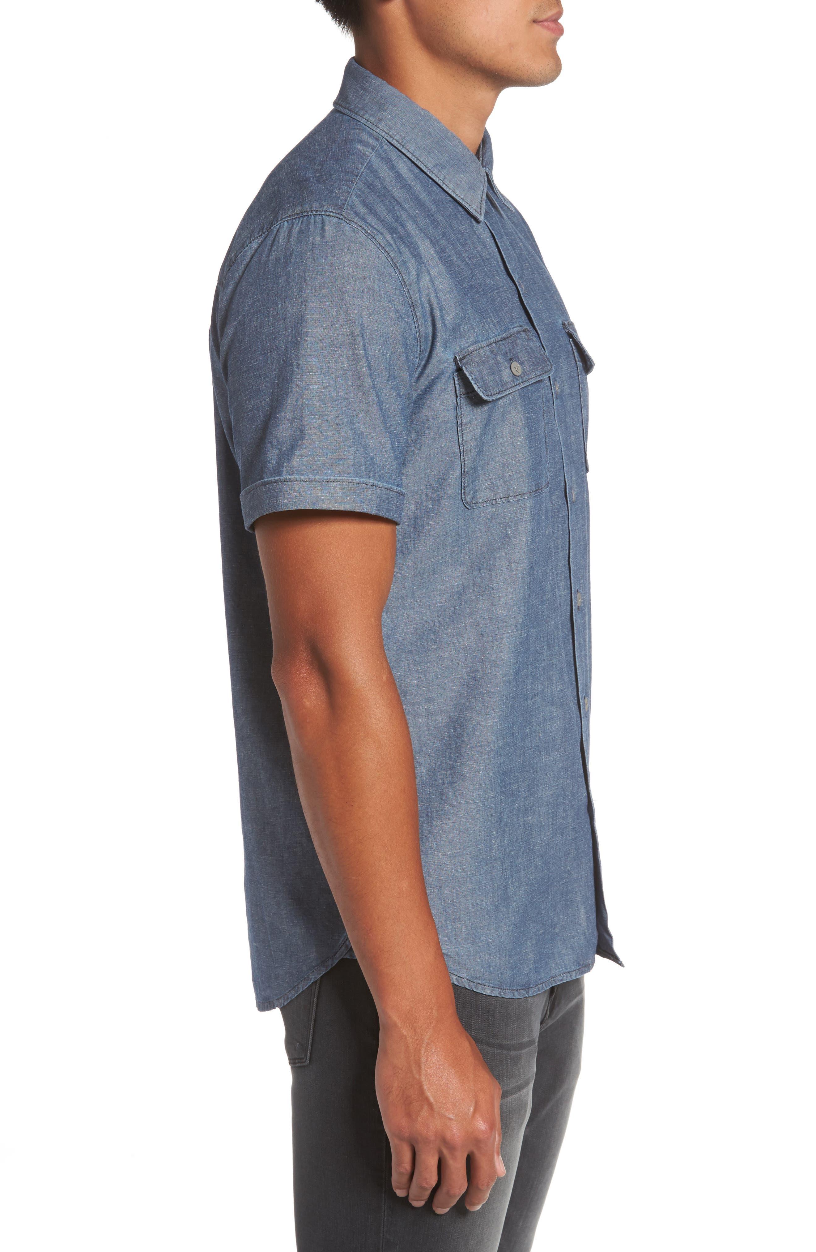 Flynn Lightweight Denim Shirt,                             Alternate thumbnail 3, color,                             Blue Wave