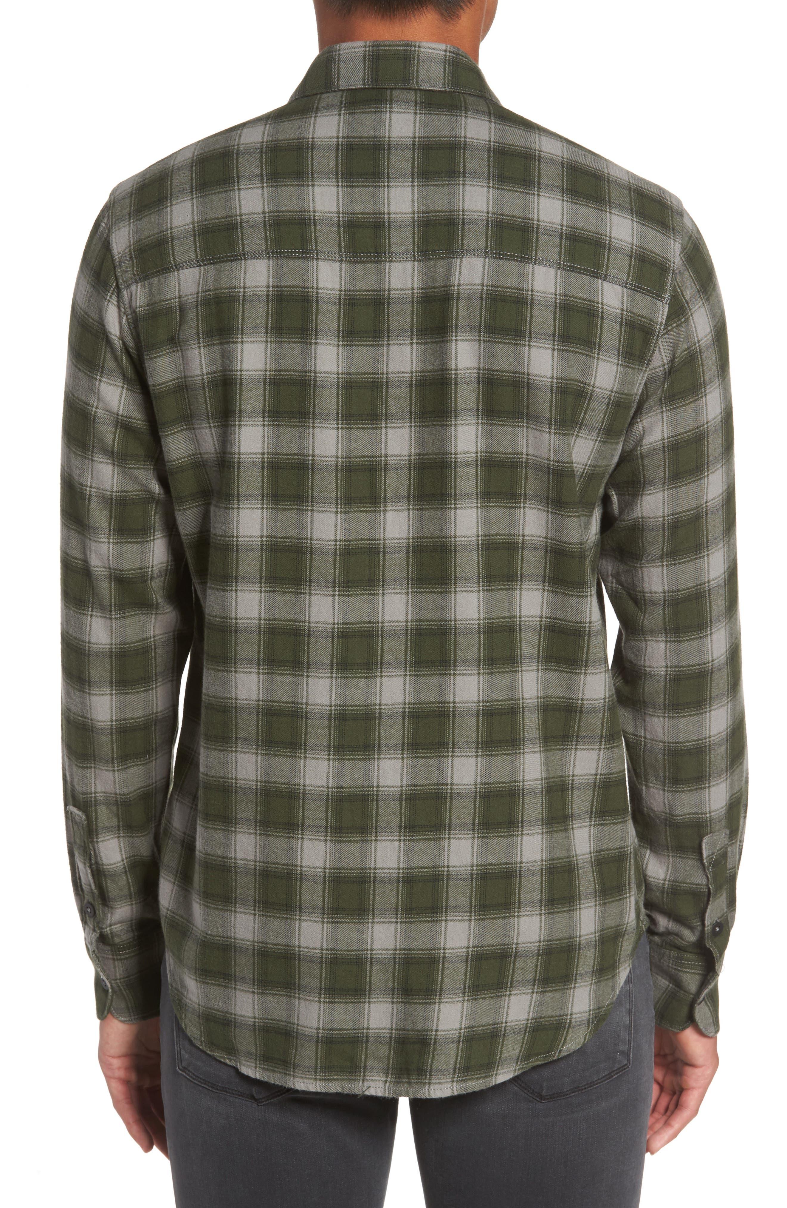 Everett Plaid Sport Shirt,                             Alternate thumbnail 2, color,                             Green Dusk