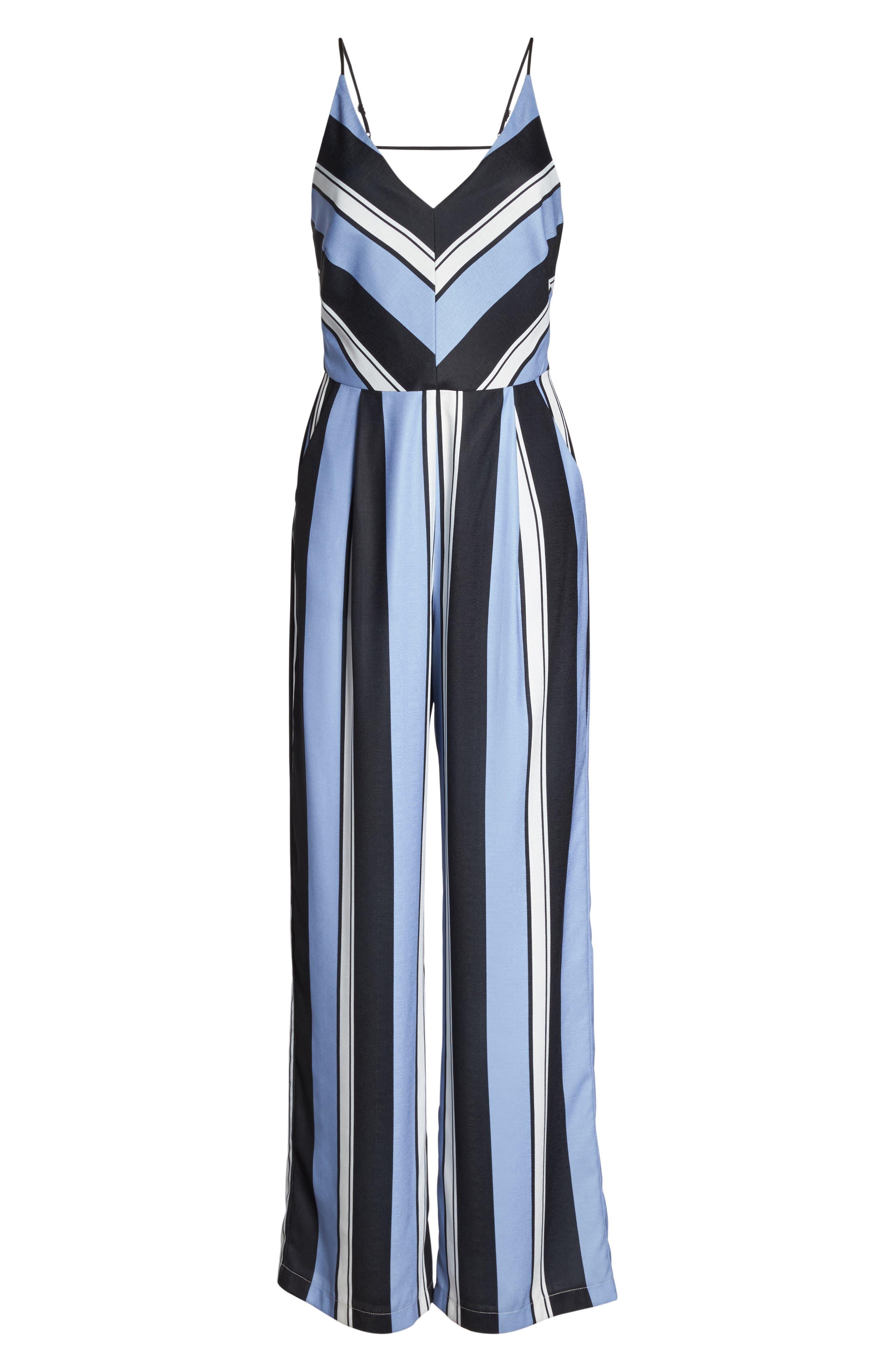 Alternate Image 7  - Adelyn Rae Stripe Crepe Jumpsuit