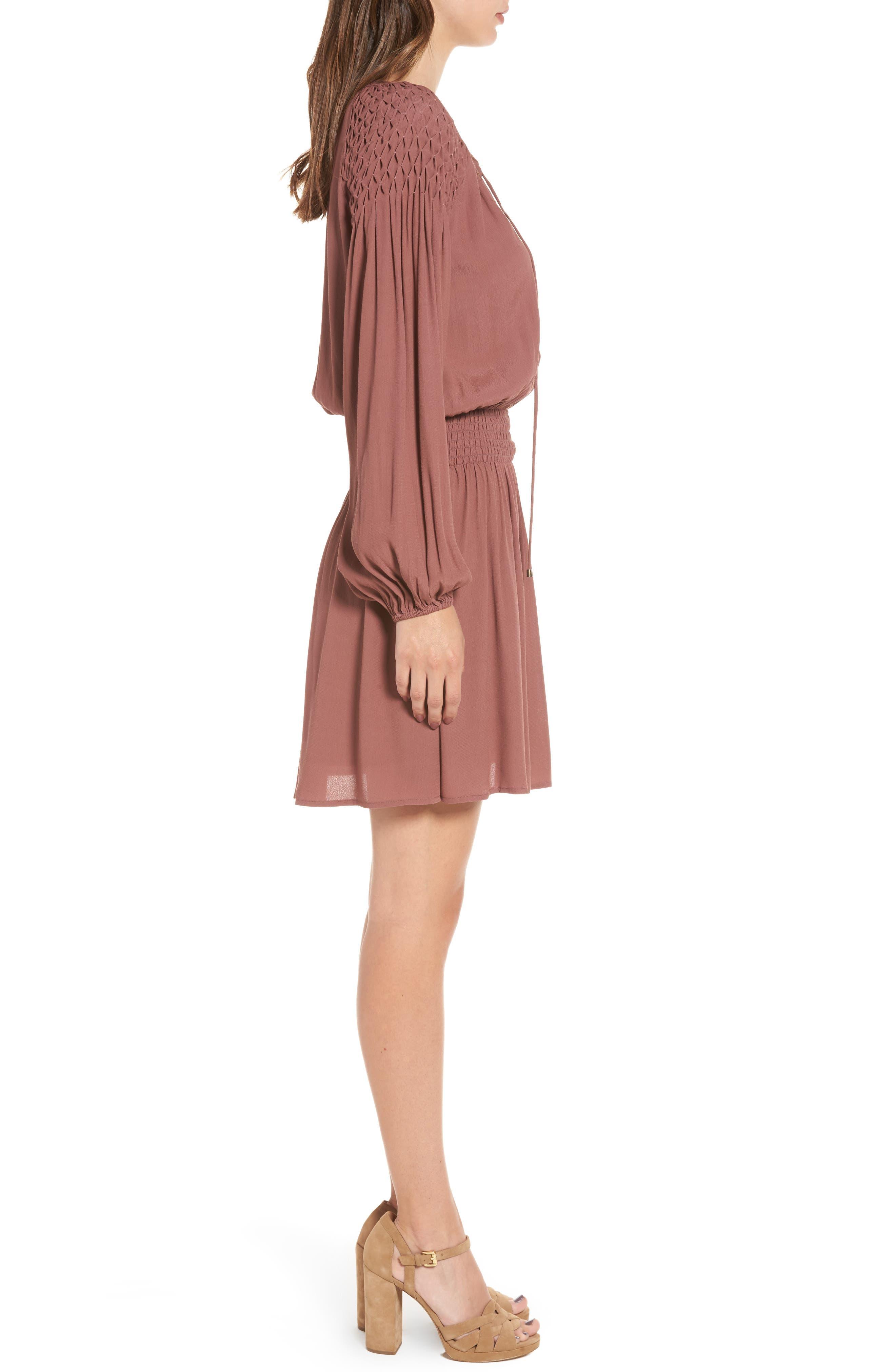Melinda Blouson Dress,                             Alternate thumbnail 4, color,                             Dark Mauve