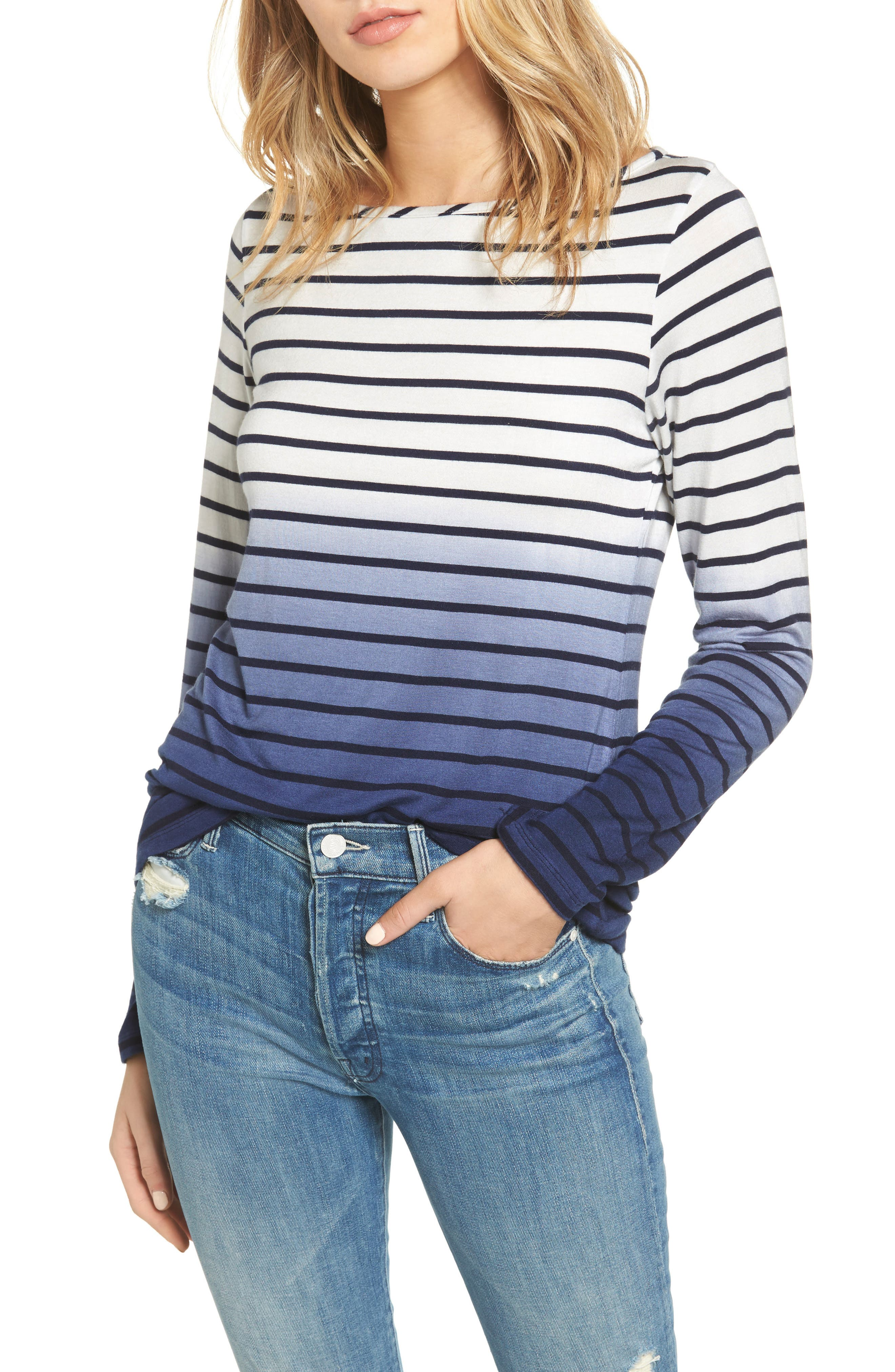 Rose Stripe Tee,                             Main thumbnail 1, color,                             Ivory/ Navy Stripe