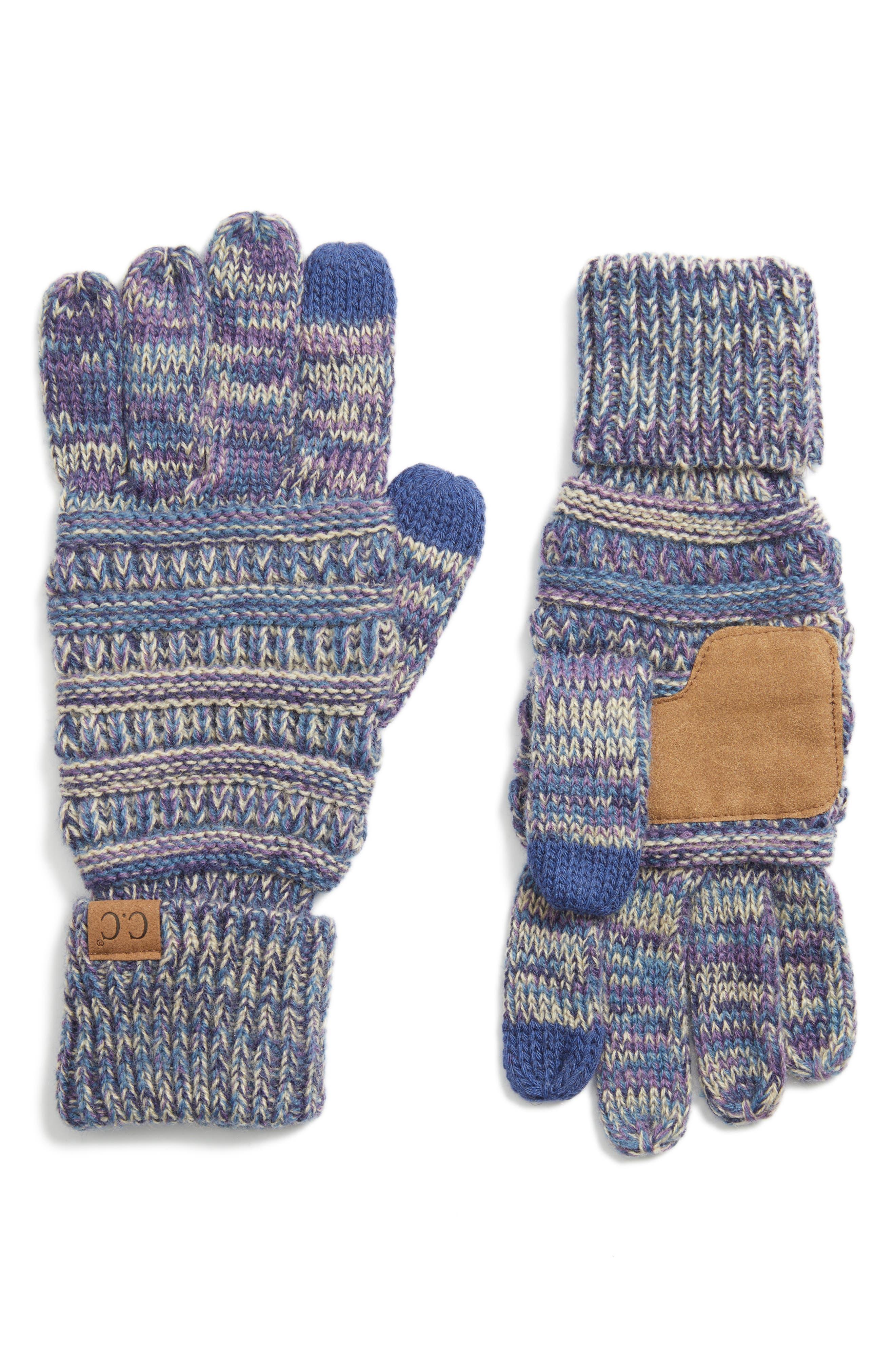 Knit Tech Gloves,                             Main thumbnail 1, color,                             Purple/ Dark Denim/ Beige