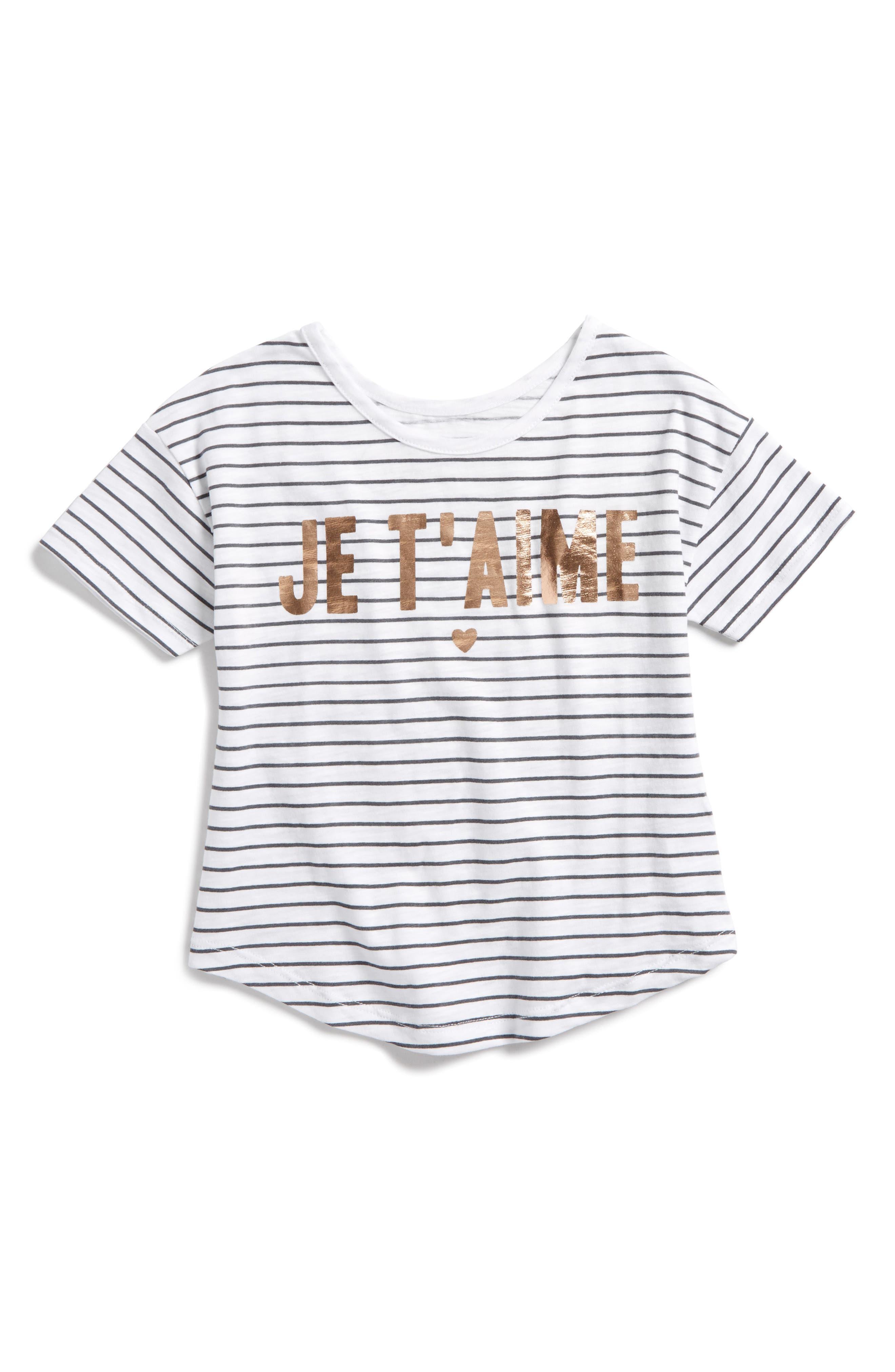 Peek Je T'aime Tee (Toddler Girls, Little Girls & Big Girls)