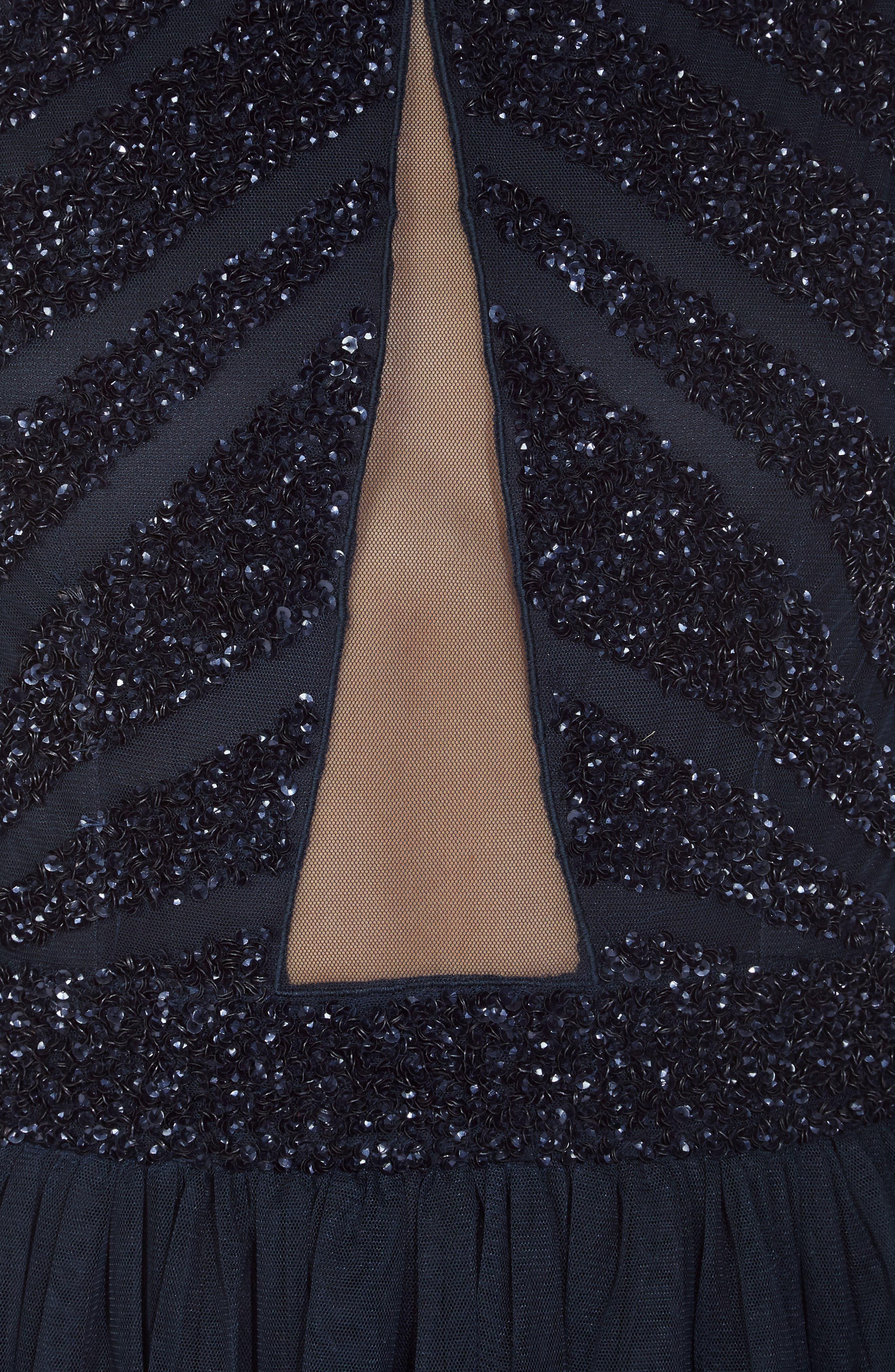 Agatha Embellished Skater Dress,                             Alternate thumbnail 5, color,                             Navy