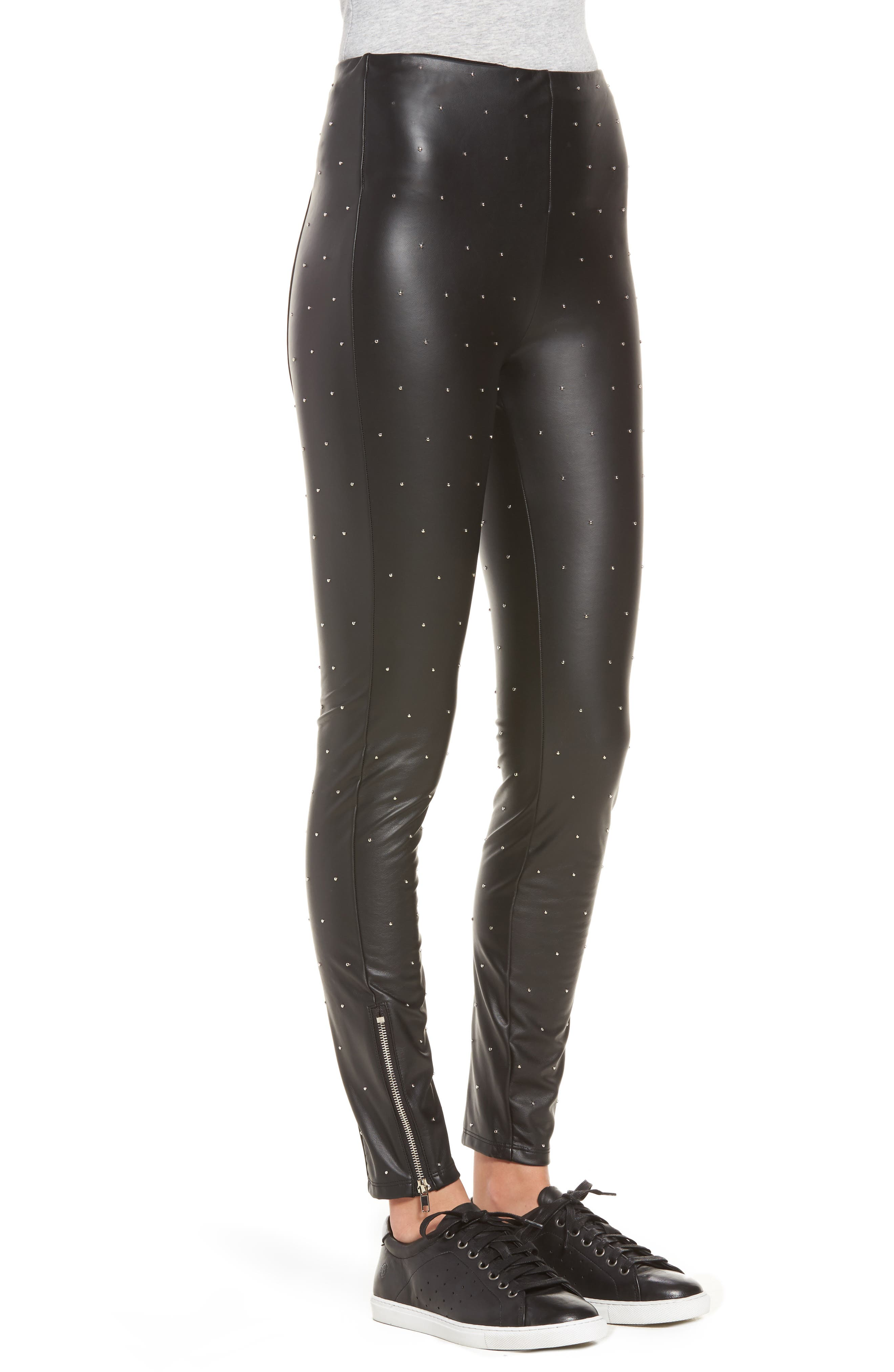 Bowery Studded High Waist Leggings,                             Alternate thumbnail 3, color,                             Silver Dot