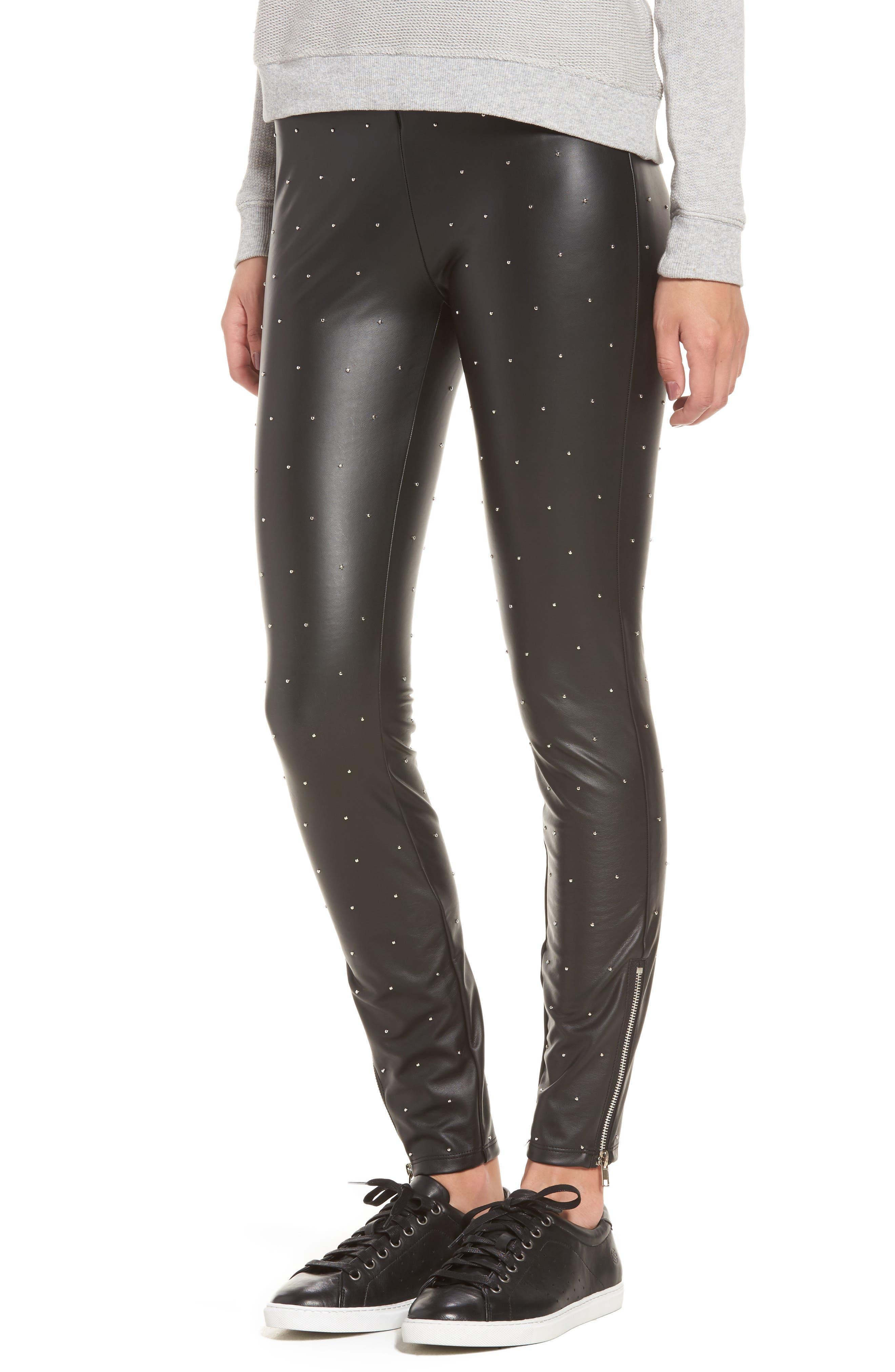 Bowery Studded High Waist Leggings,                         Main,                         color, Silver Dot