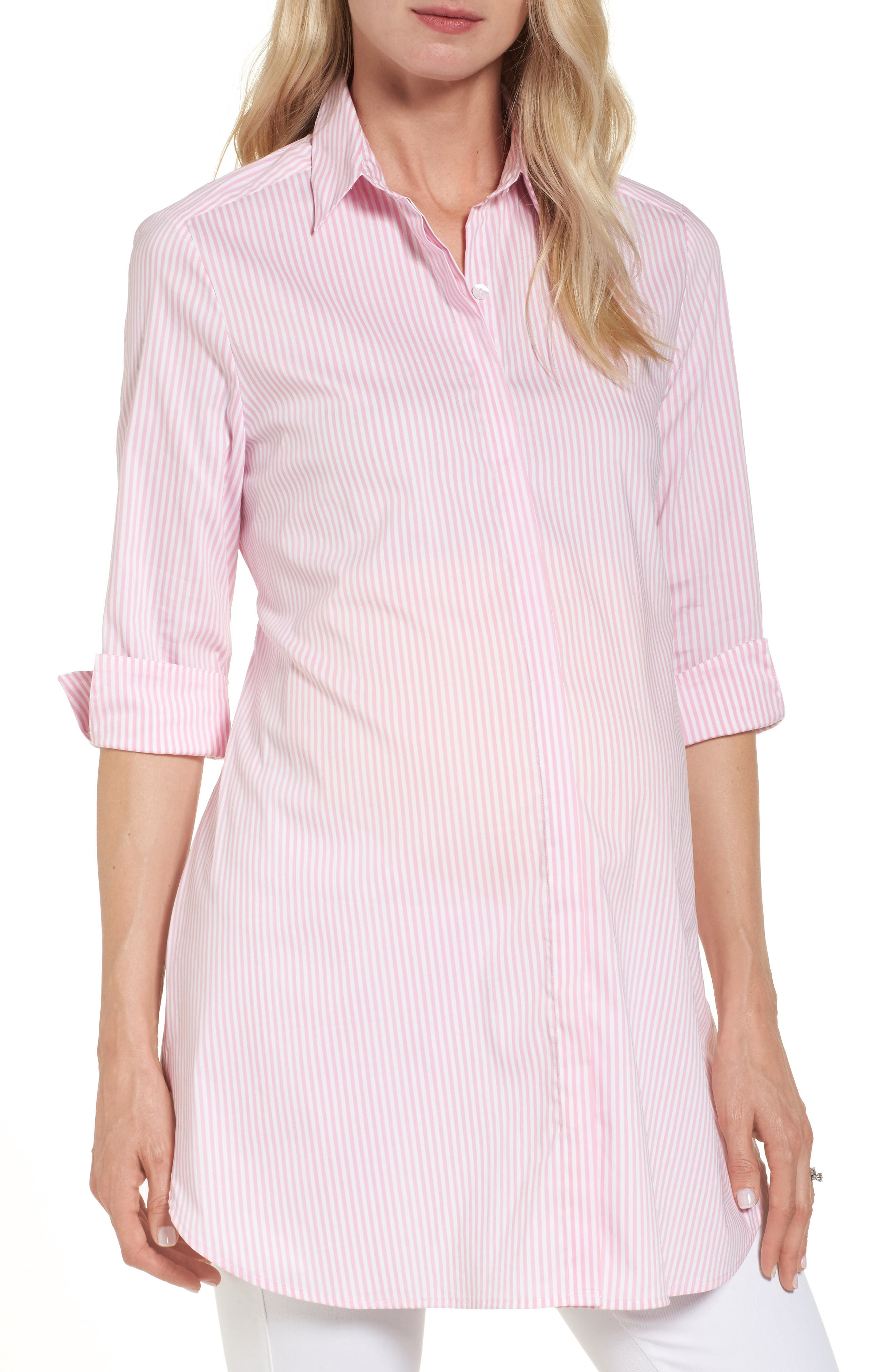 Dora Stripe Maternity Shirt,                         Main,                         color, Pink And White Stripe