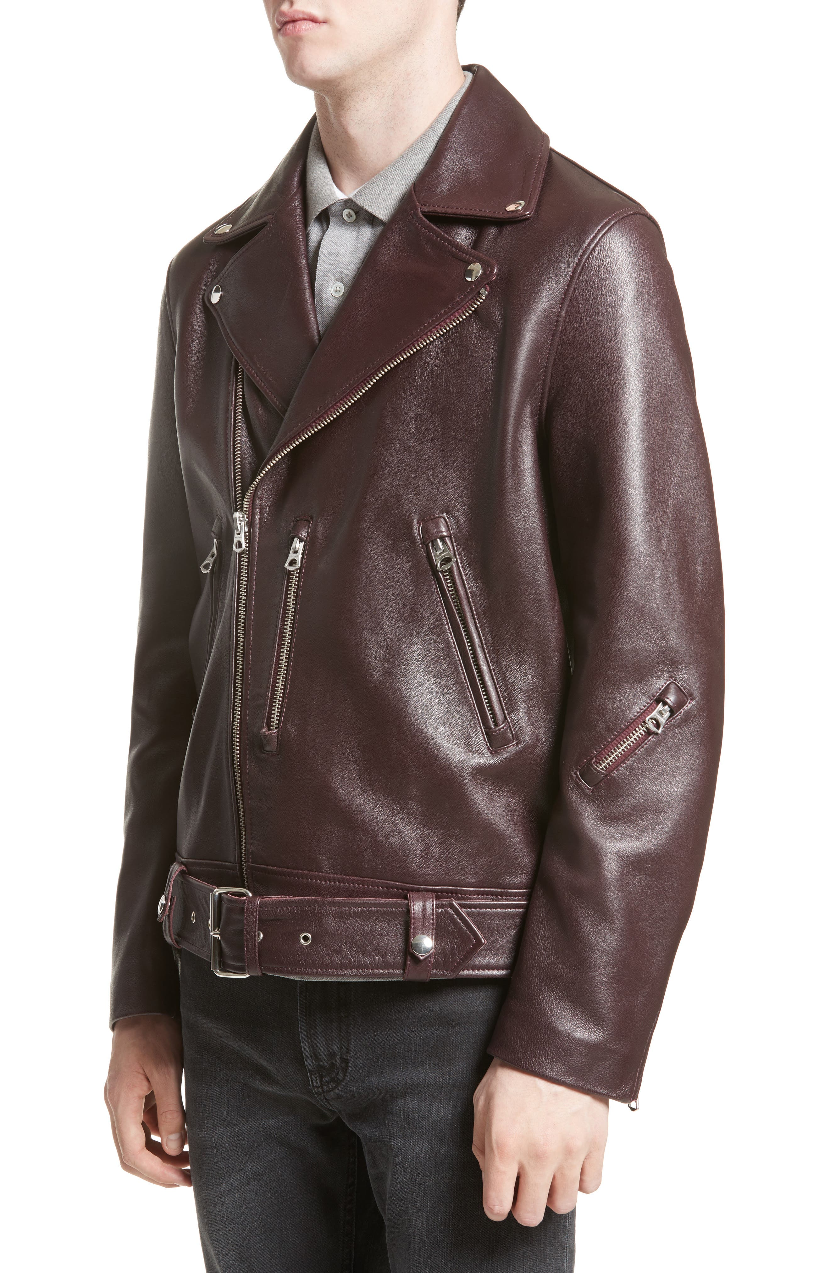Acne Nate Leather Jacket,                             Alternate thumbnail 4, color,                             Oxblood Red