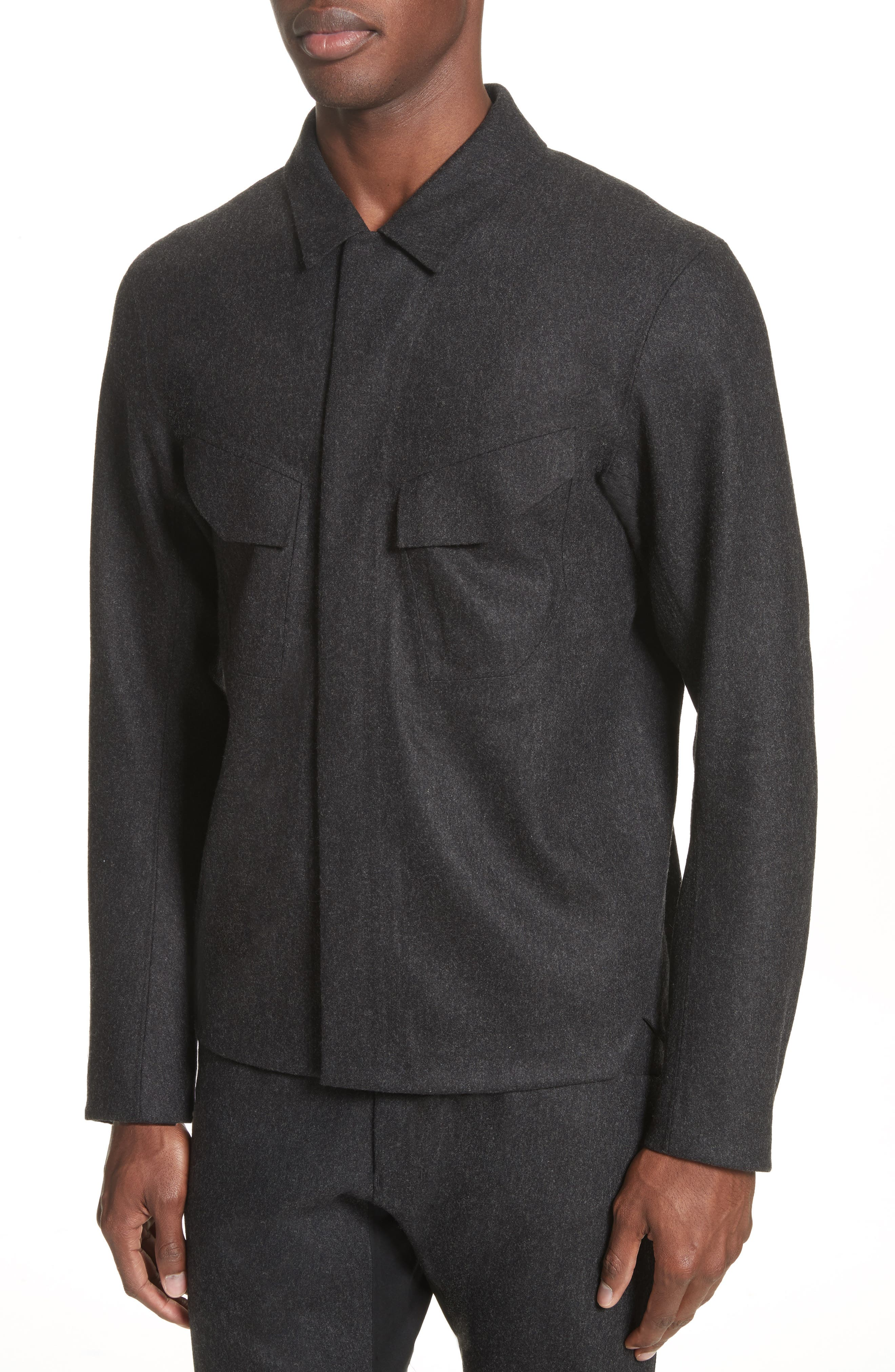 Haedn Shirt Jacket,                             Alternate thumbnail 4, color,                             Black Heather