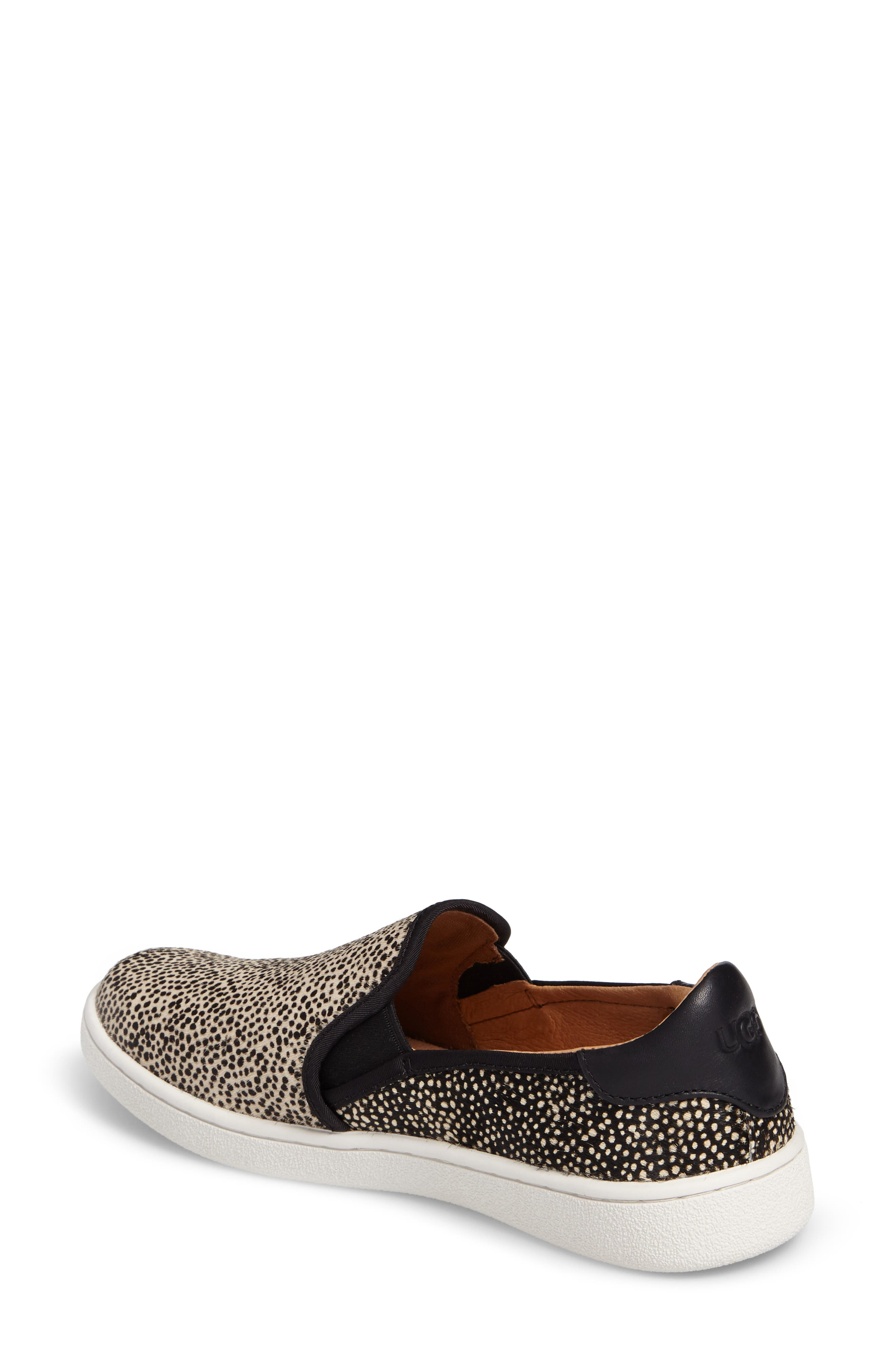 Cas Exotic Genuine Calf Hair Slip-On Sneaker,                             Alternate thumbnail 2, color,                             Black/ Tan Dotted Leather