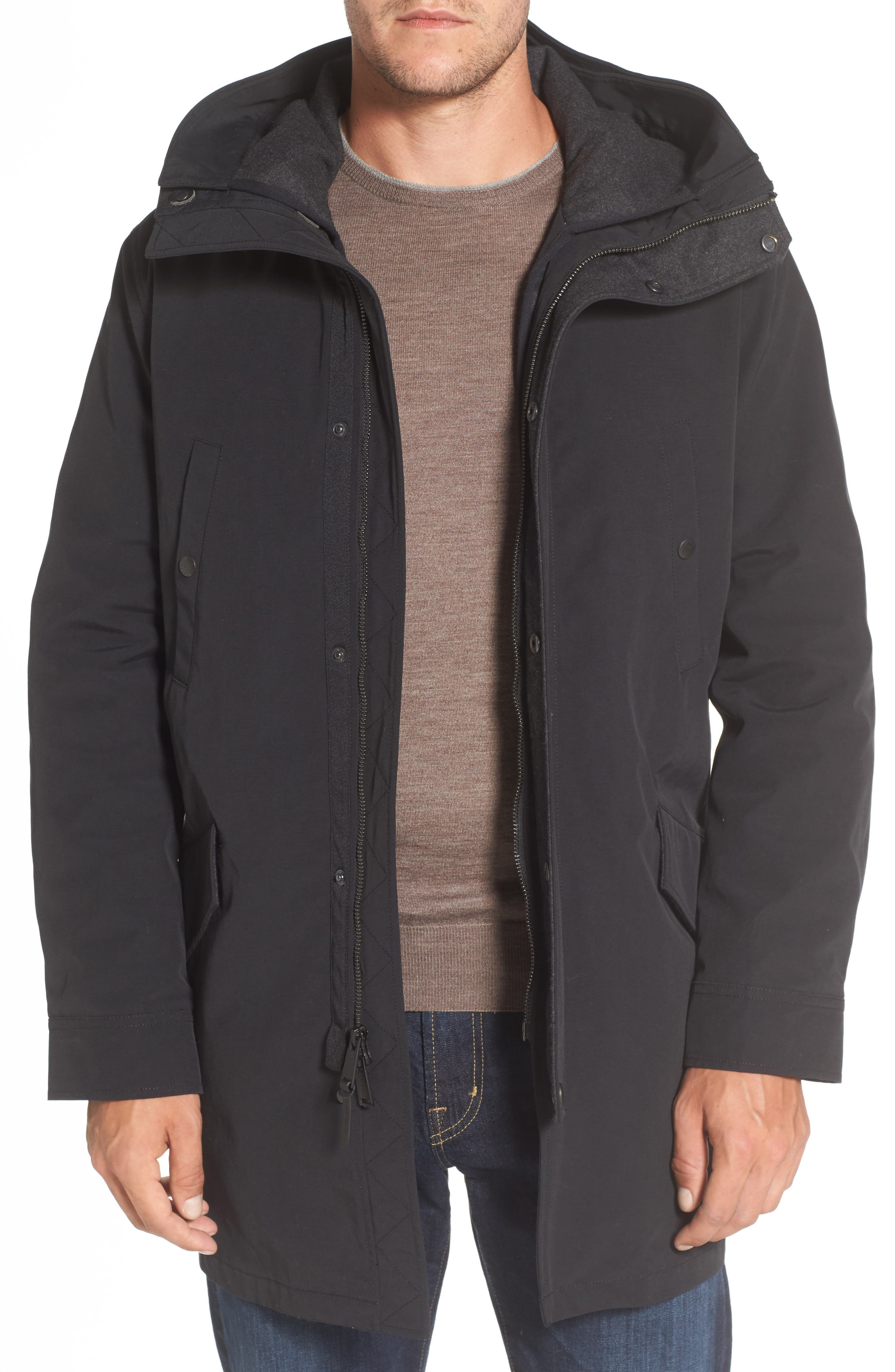 Water Repellent 3-in-1 Utility Jacket,                         Main,                         color, Black