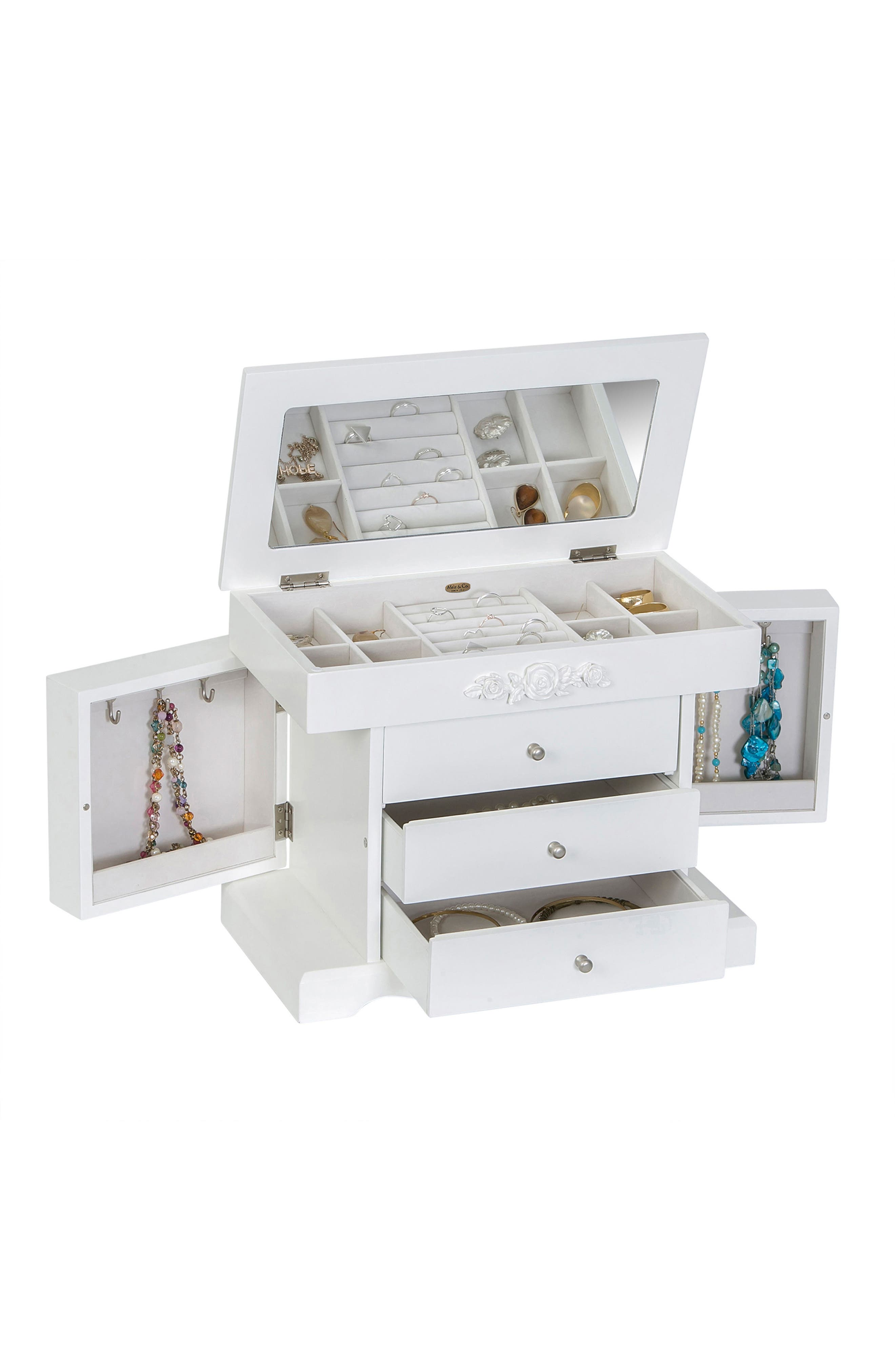 Montague Jewelry Box,                             Alternate thumbnail 4, color,                             White