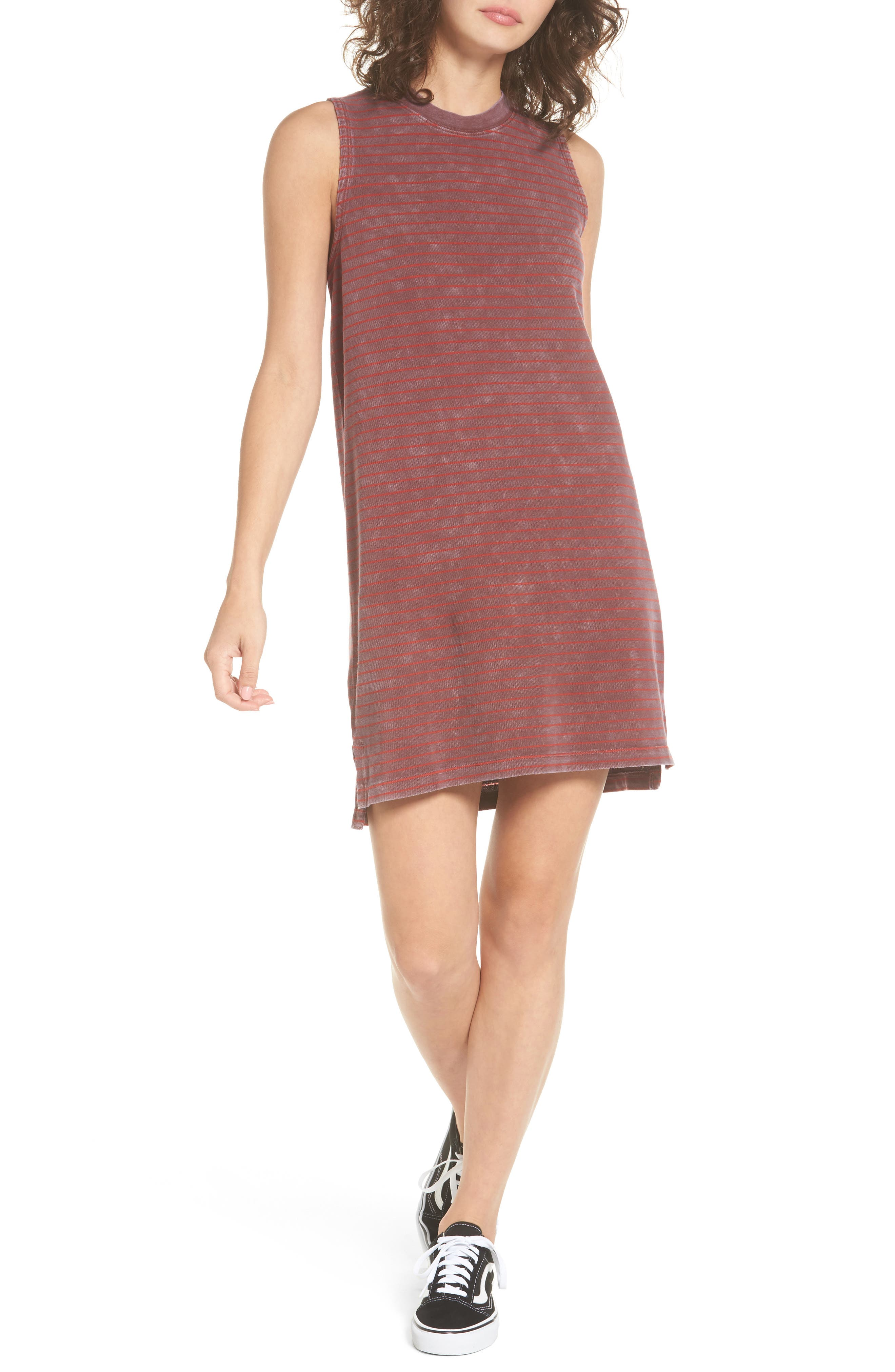 Double Down Stripe Shift Dress,                         Main,                         color, Burnt Red