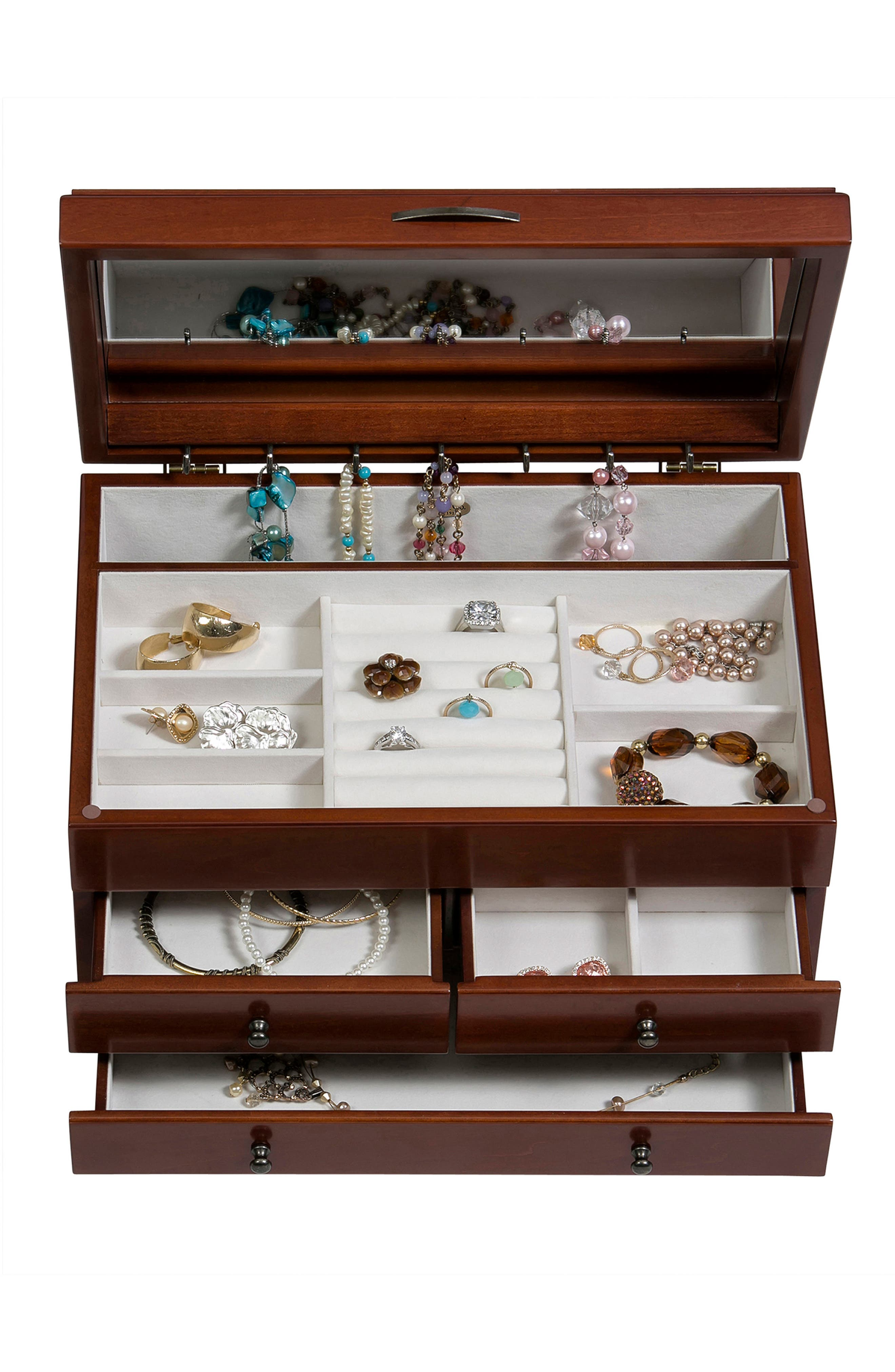 Fairhaven Wooden Jewelry Box,                             Alternate thumbnail 3, color,                             Brown