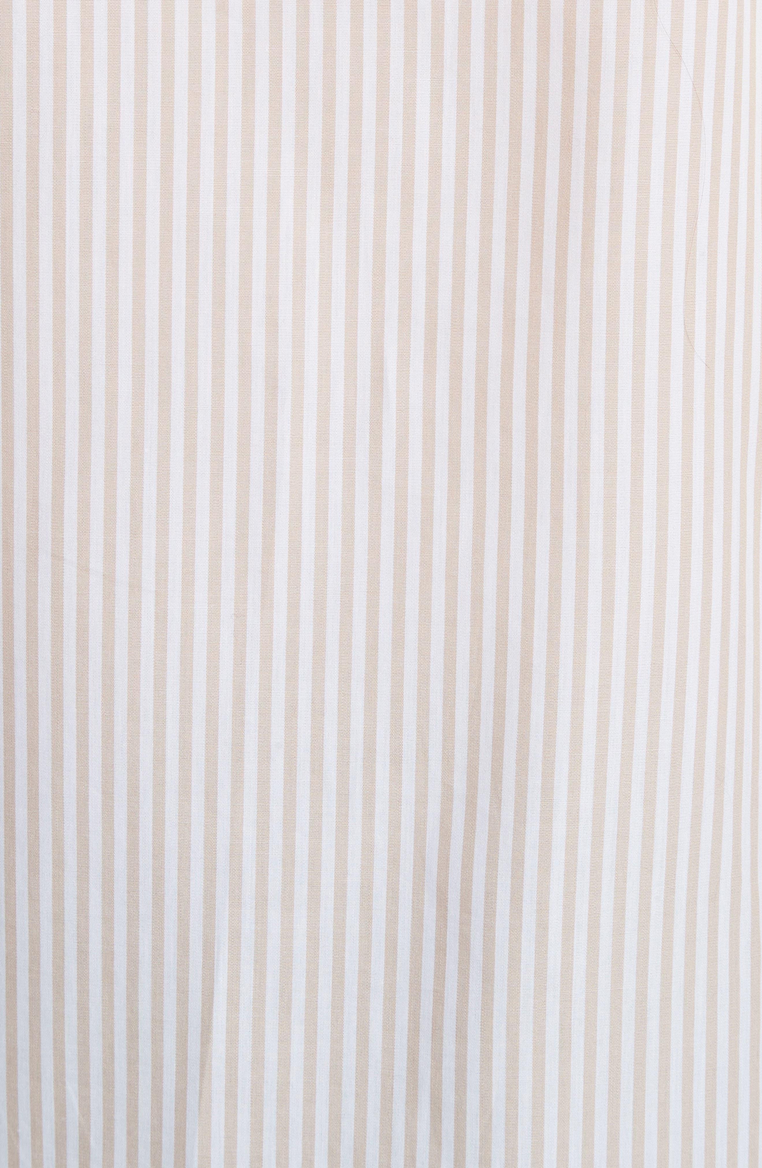 Stripe Cotton Shirt,                             Alternate thumbnail 5, color,                             Beige-White