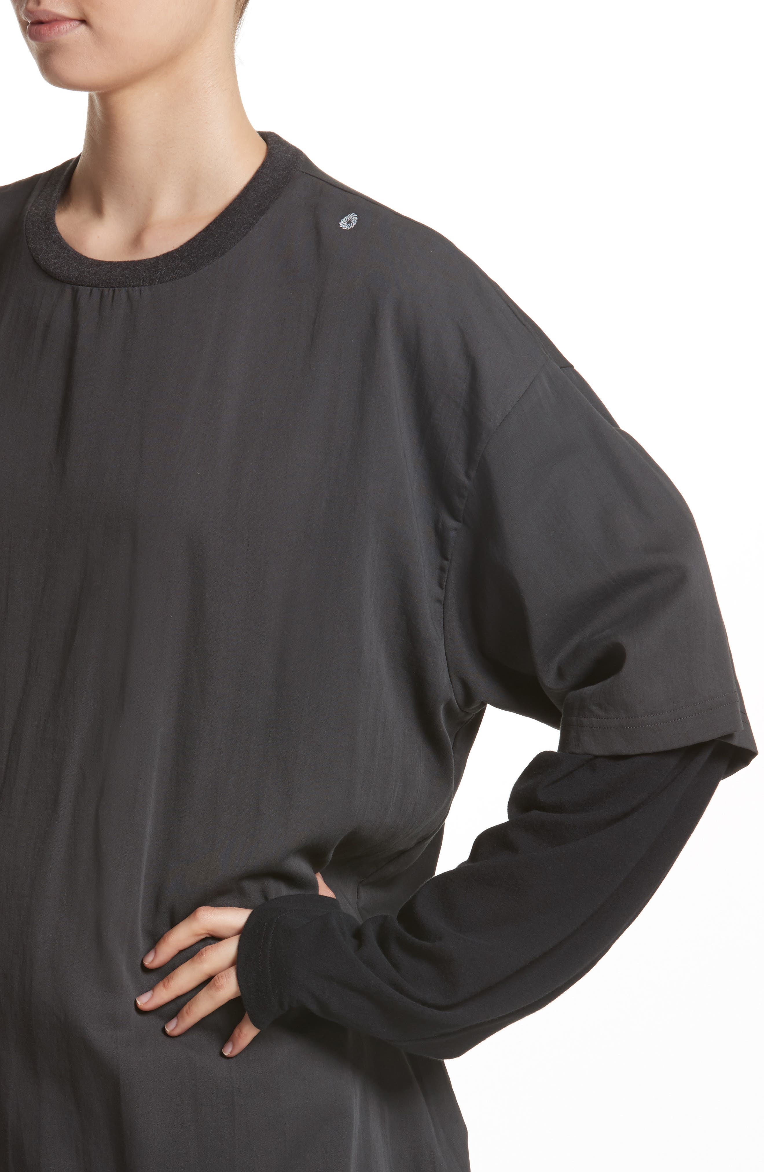 Layered Oversize Tee,                             Alternate thumbnail 4, color,                             Black