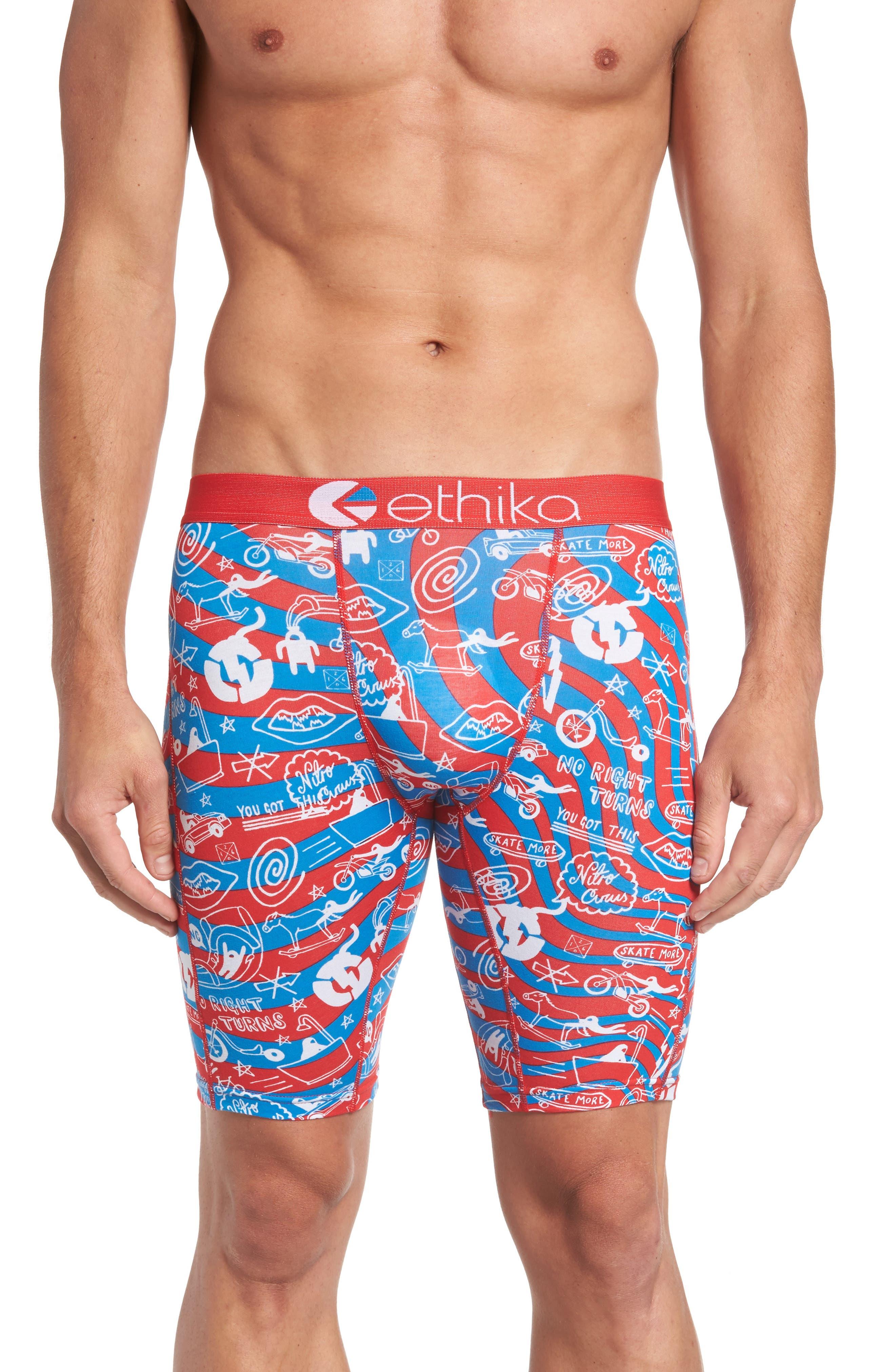 Nitro Doodle Boxer Briefs,                         Main,                         color, Red/ Blue