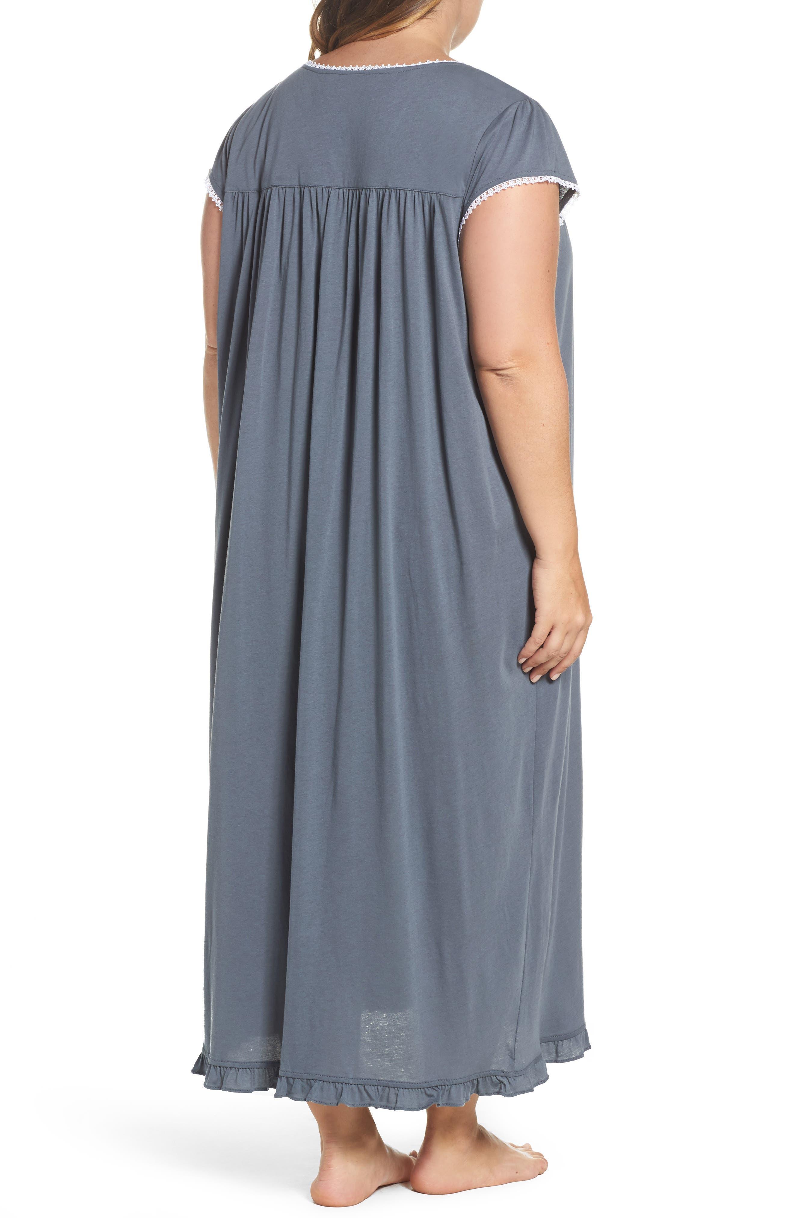 Cotton & Modal Long Nightgown,                             Alternate thumbnail 2, color,                             Grey