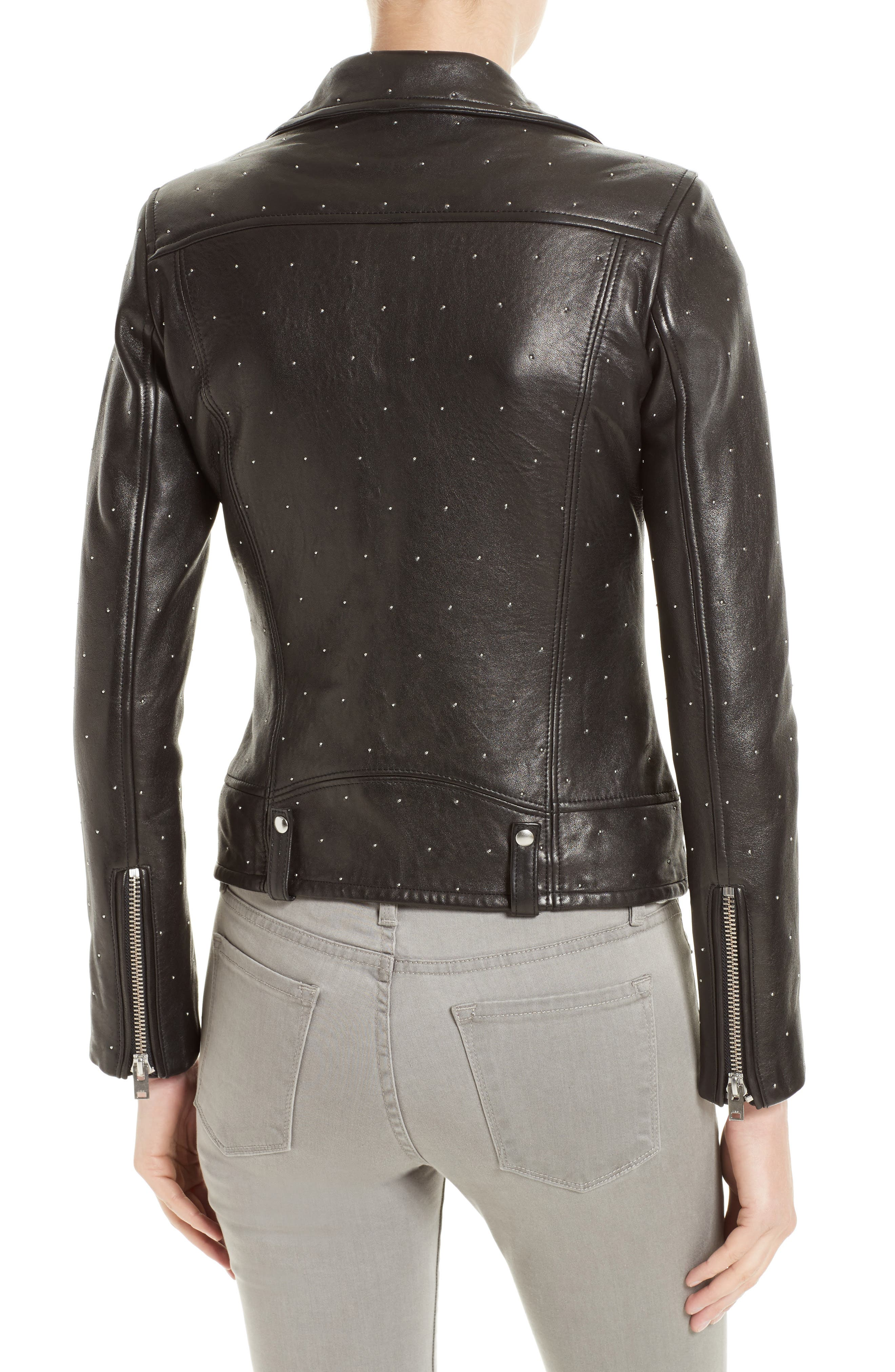 Alternate Image 2  - IRO Vamy Studded Leather Moto Jacket