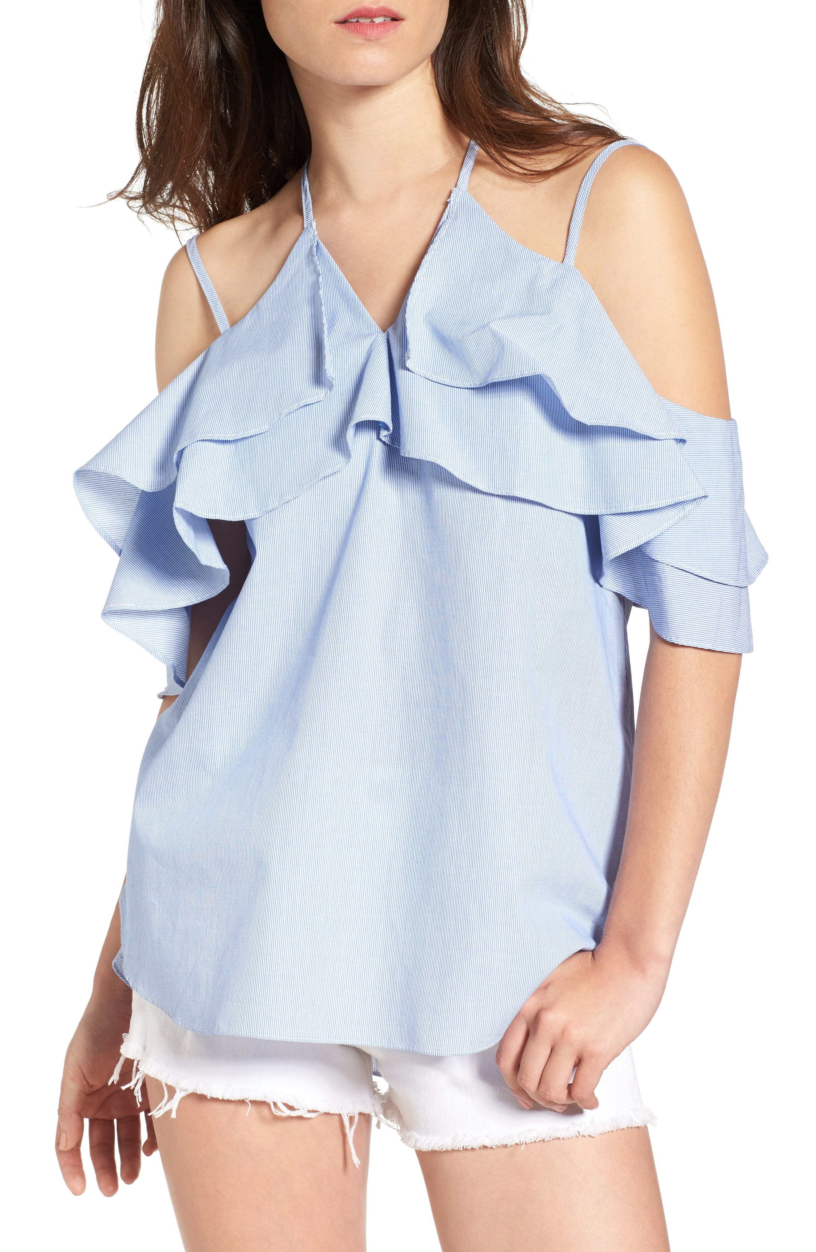 LOVE, FIRE Cotton Ruffle Off the Shoulder Blouse